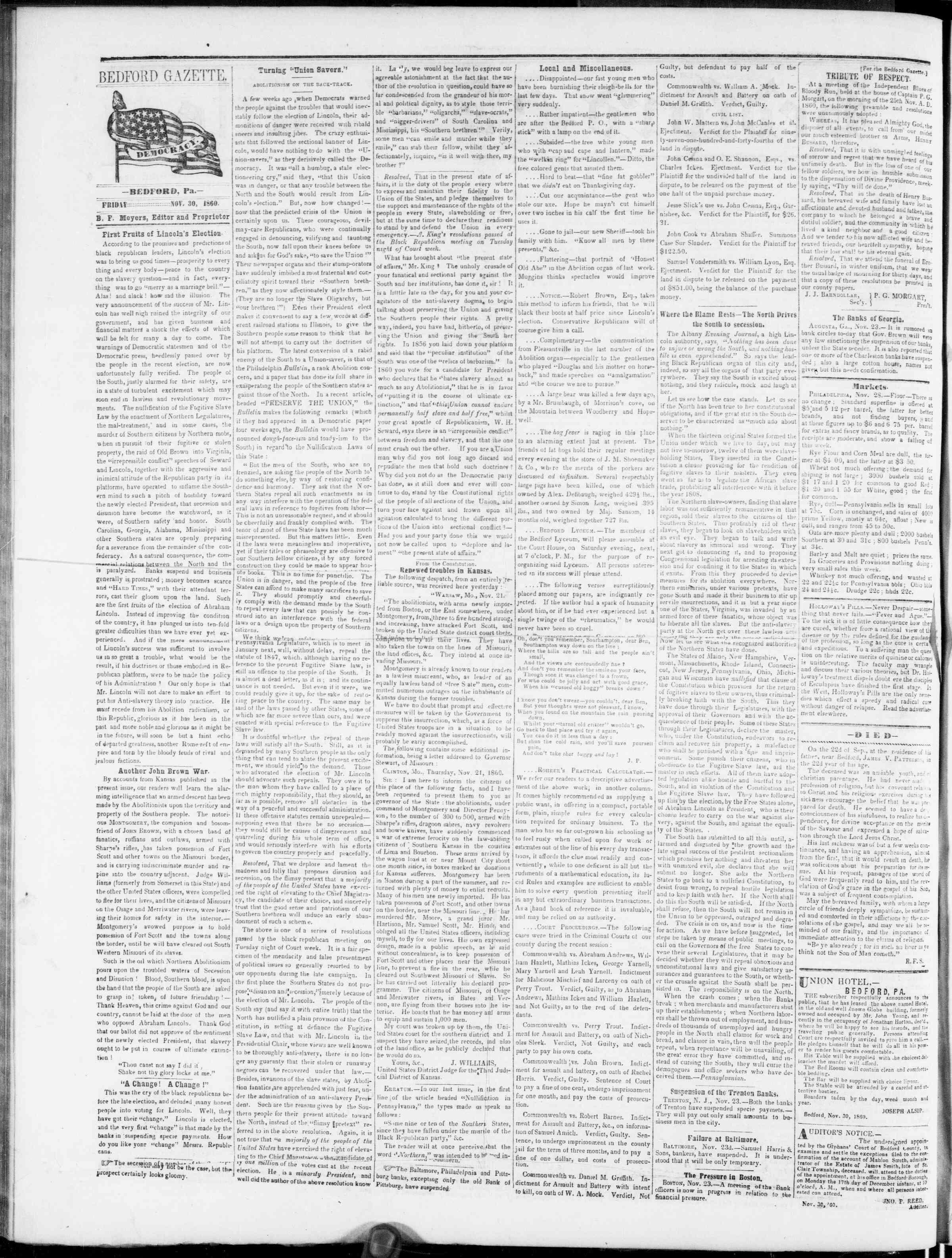 Newspaper of Bedford Gazette dated November 30, 1860 Page 2