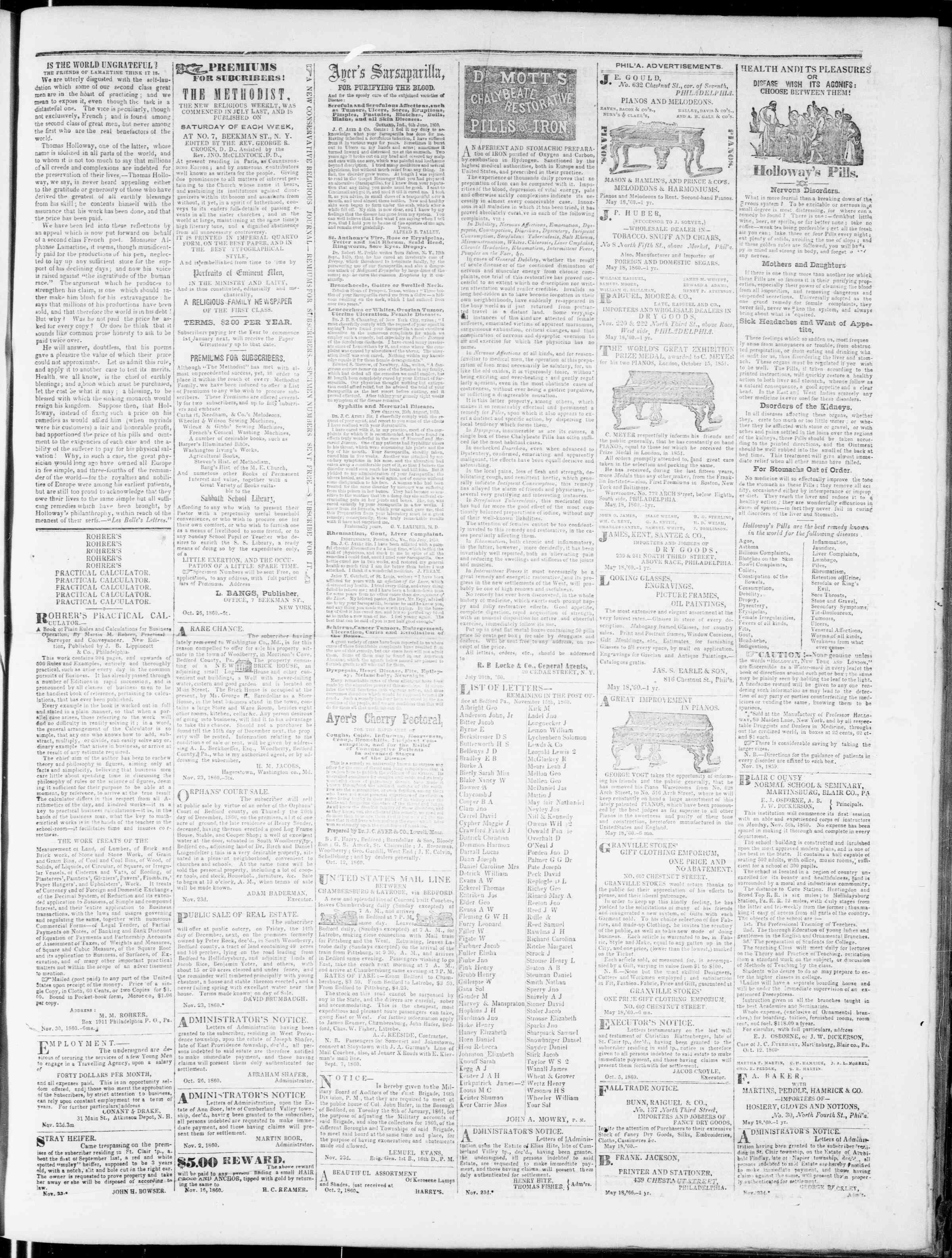 Newspaper of Bedford Gazette dated November 30, 1860 Page 3