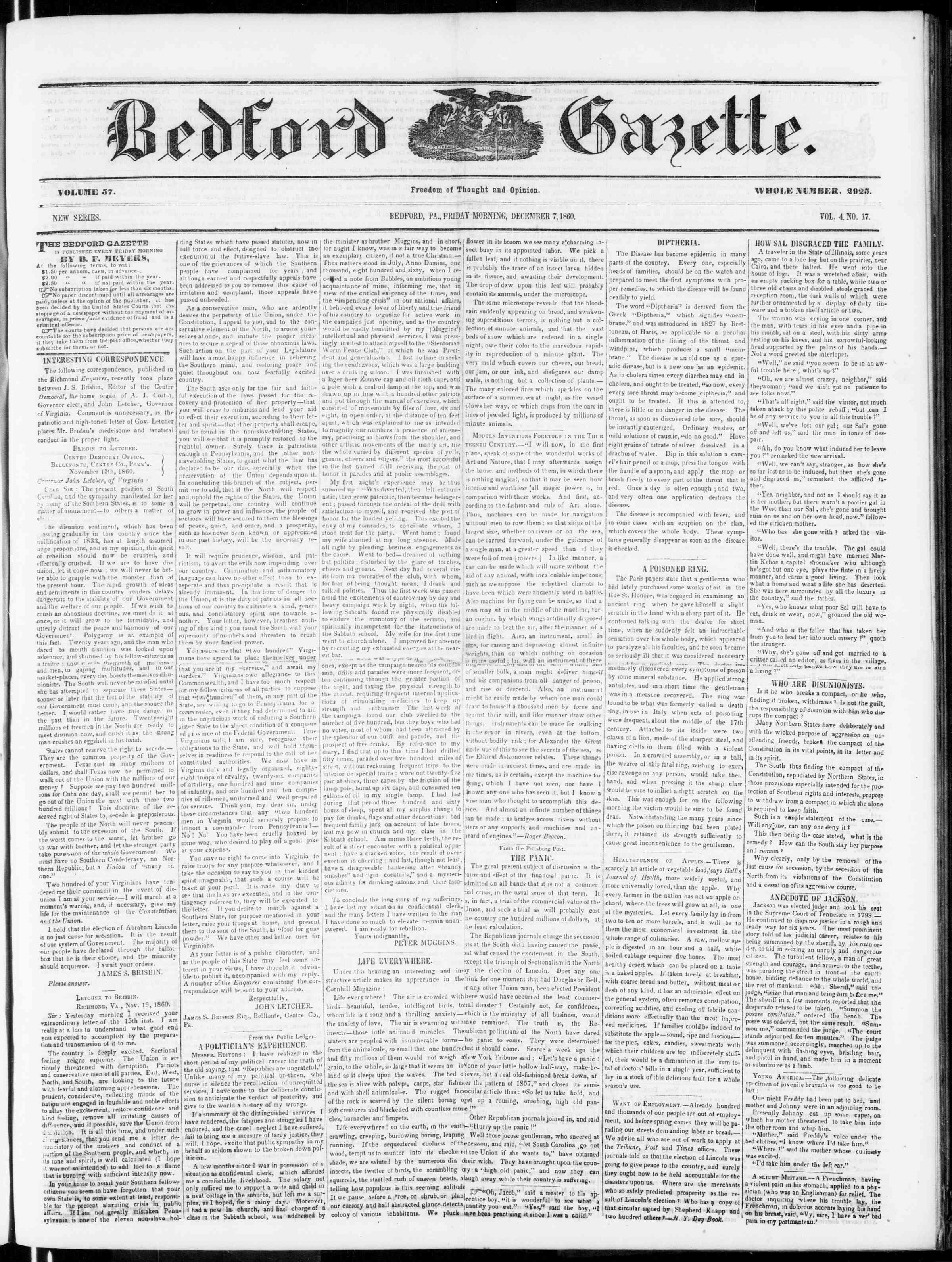 Newspaper of Bedford Gazette dated December 7, 1860 Page 1