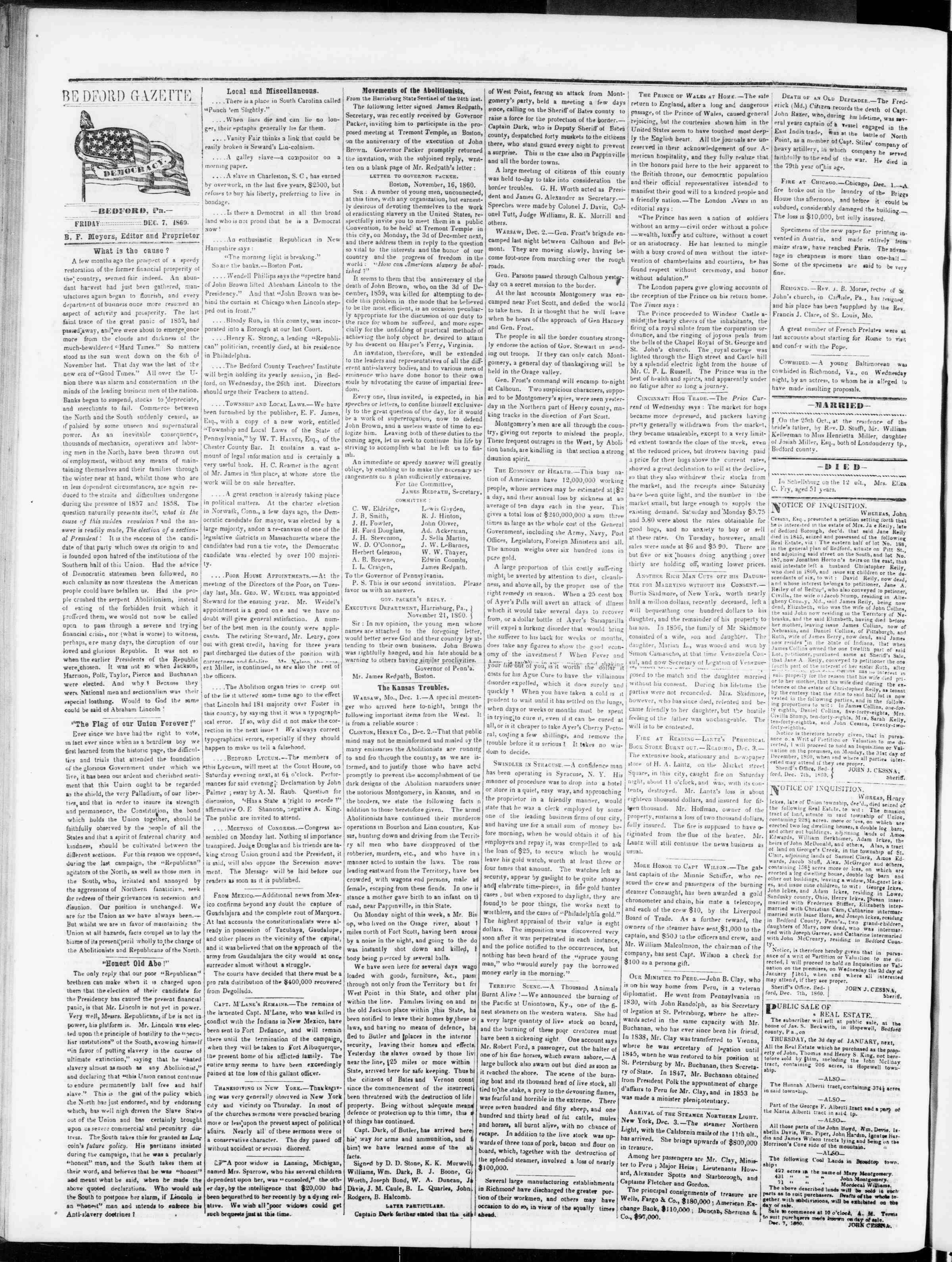 Newspaper of Bedford Gazette dated December 7, 1860 Page 2