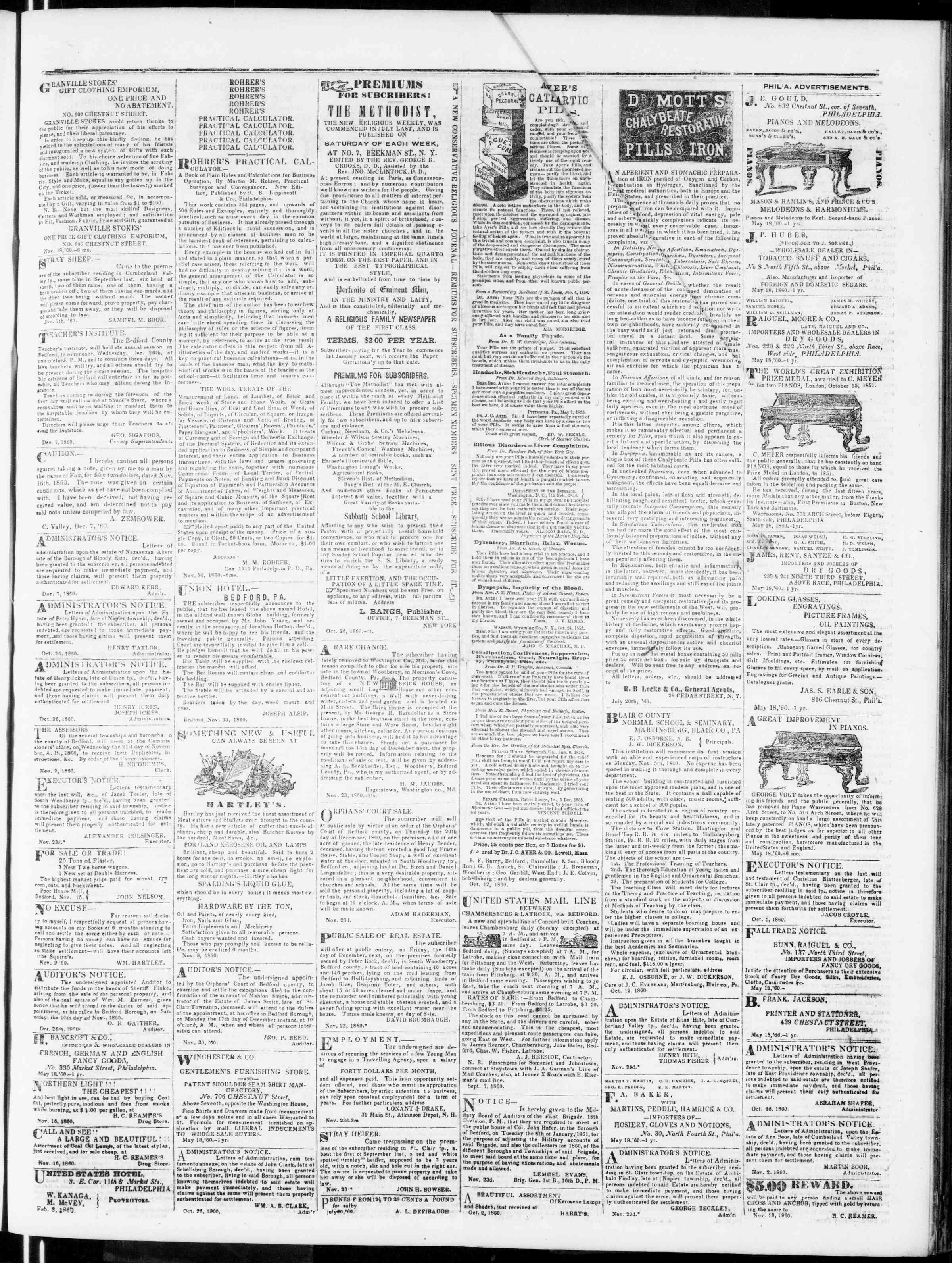 Newspaper of Bedford Gazette dated December 7, 1860 Page 3