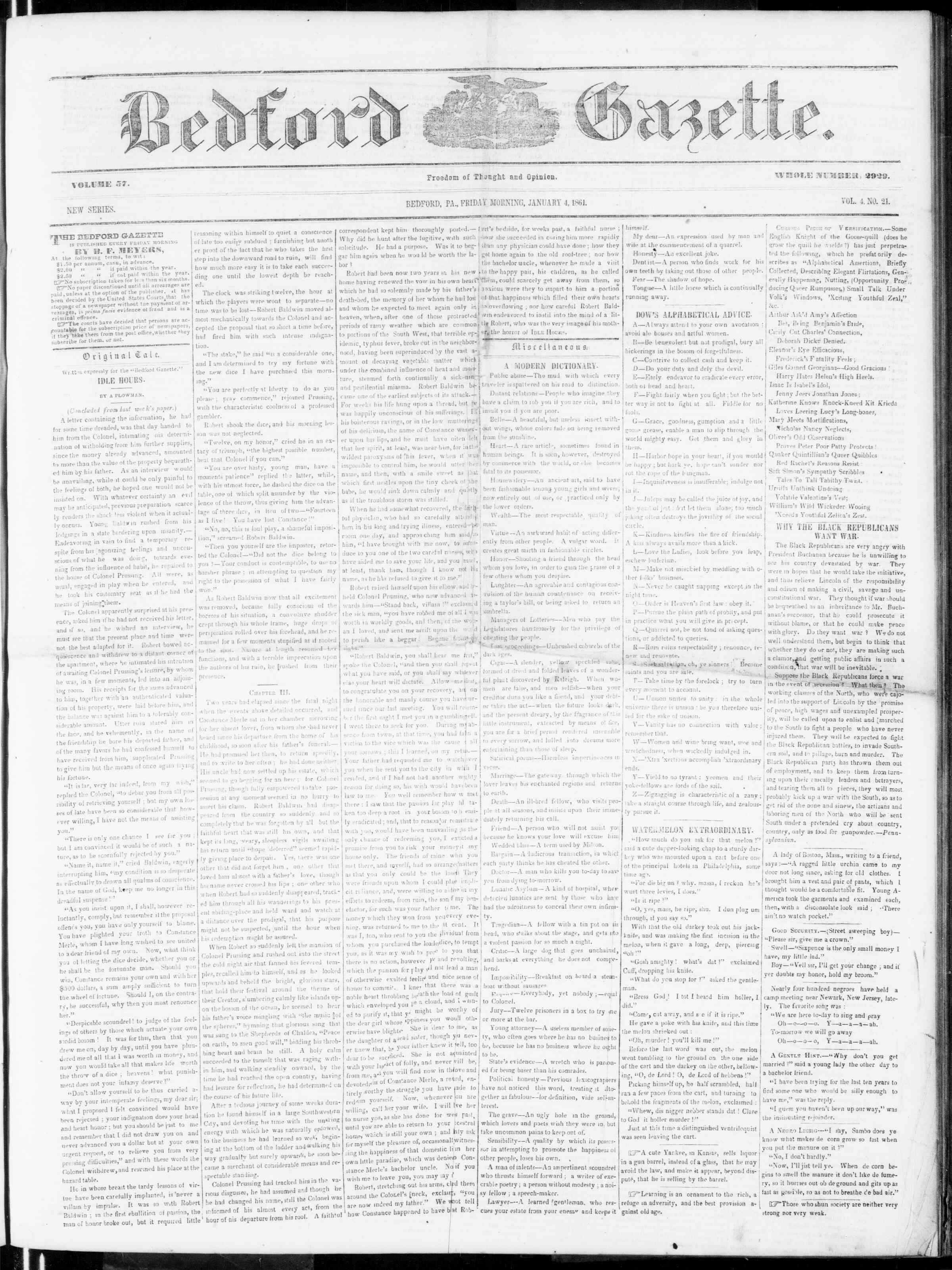 Newspaper of Bedford Gazette dated January 4, 1861 Page 1