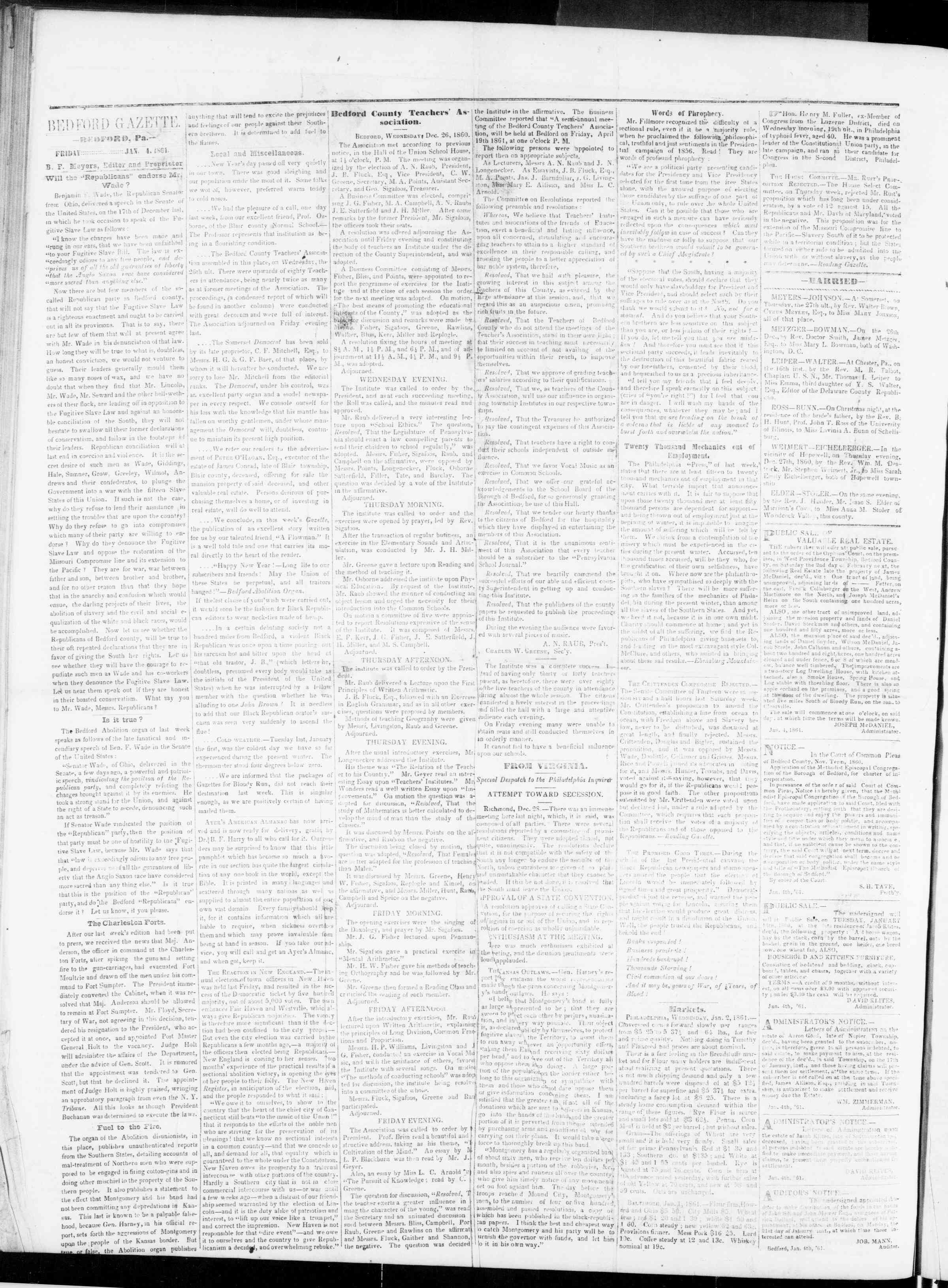 Newspaper of Bedford Gazette dated January 4, 1861 Page 2