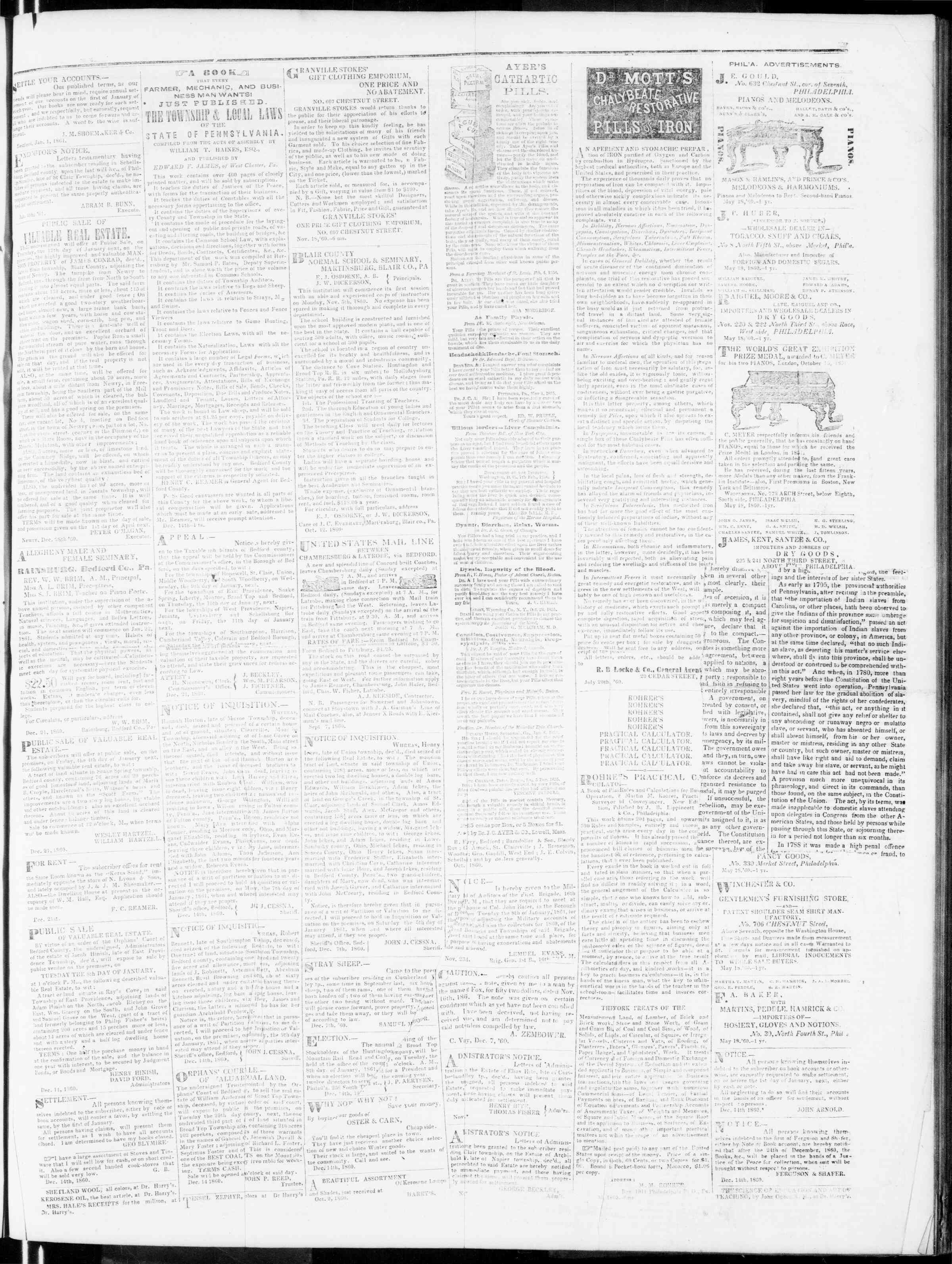 Newspaper of Bedford Gazette dated January 4, 1861 Page 3