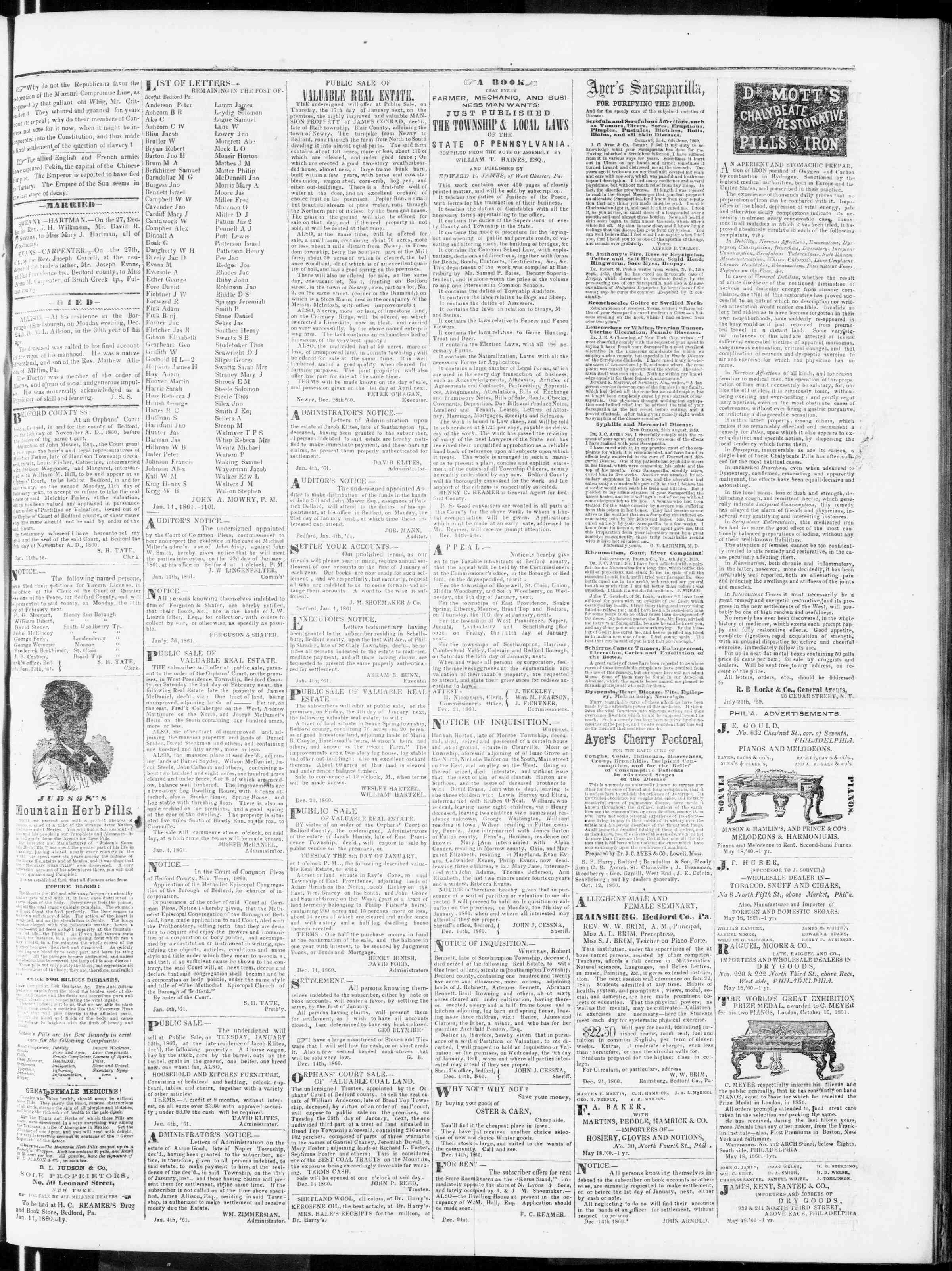 Newspaper of Bedford Gazette dated January 11, 1861 Page 3