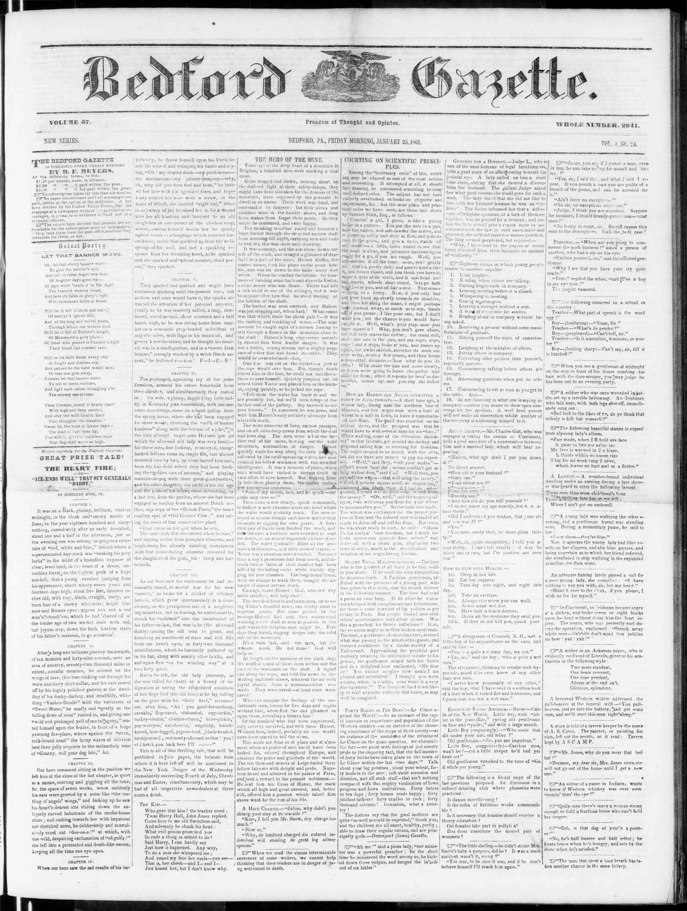 Newspaper of Bedford Gazette dated January 25, 1861 Page 1