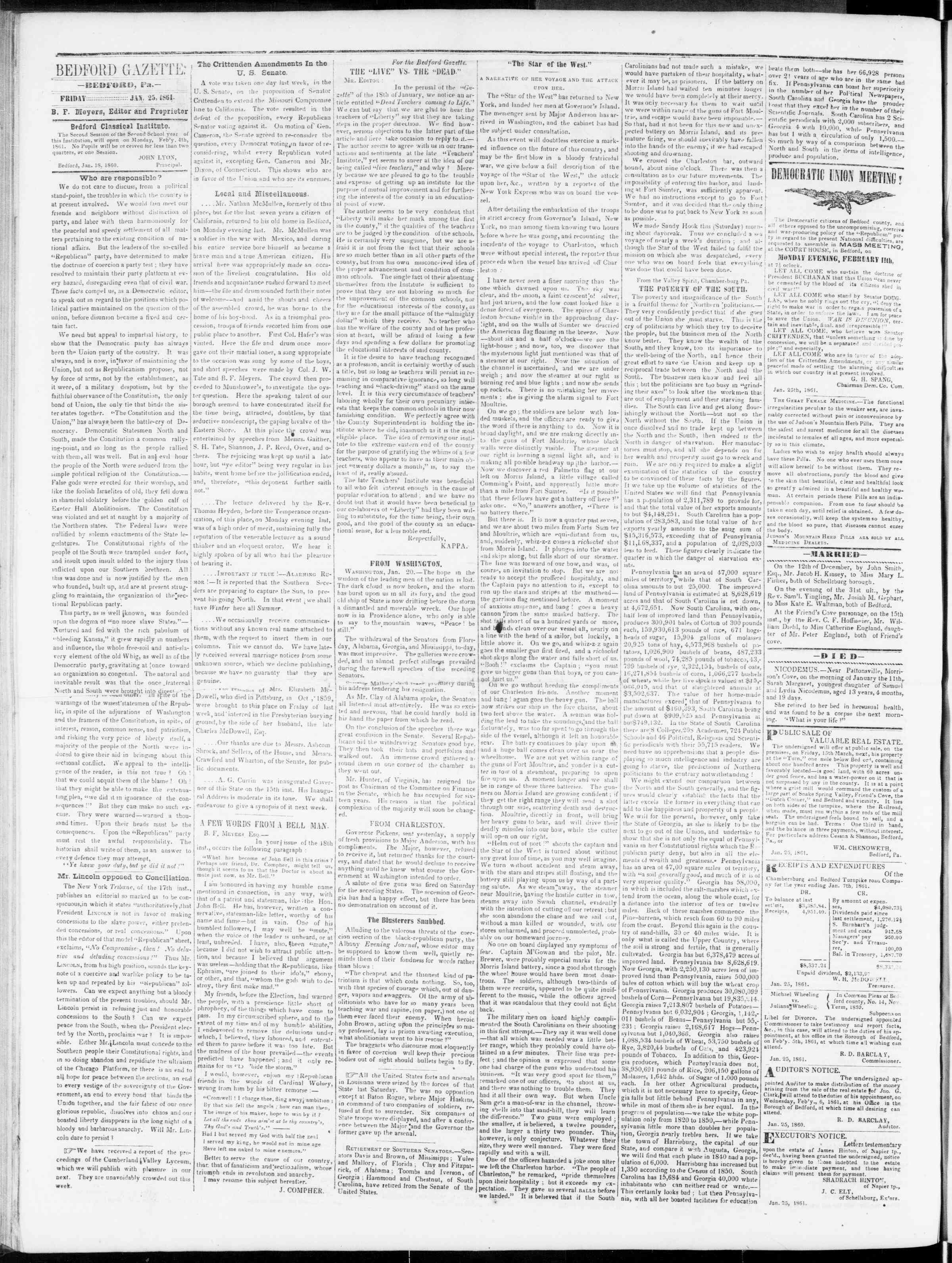 Newspaper of Bedford Gazette dated January 25, 1861 Page 2