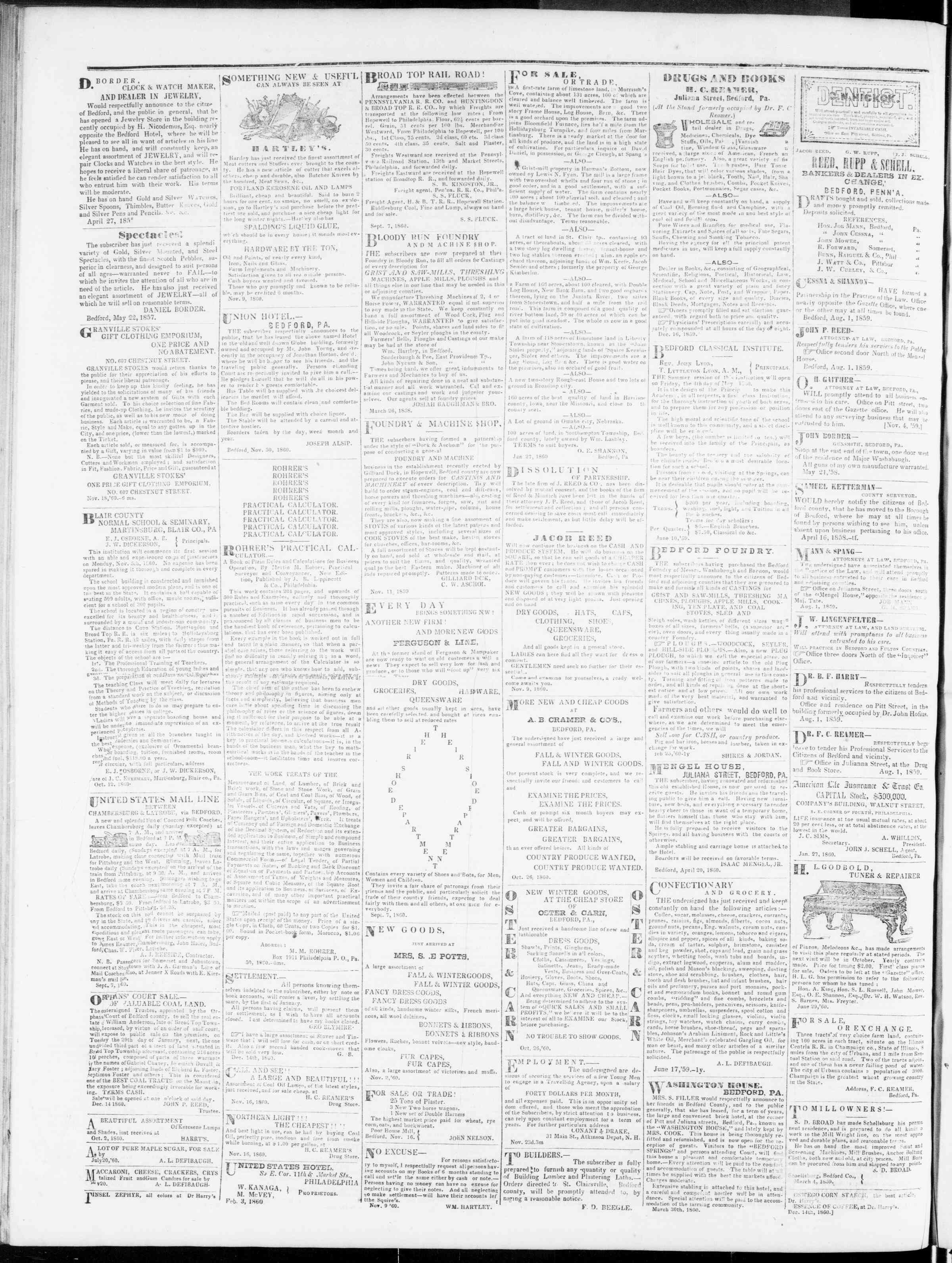 Newspaper of Bedford Gazette dated January 25, 1861 Page 4