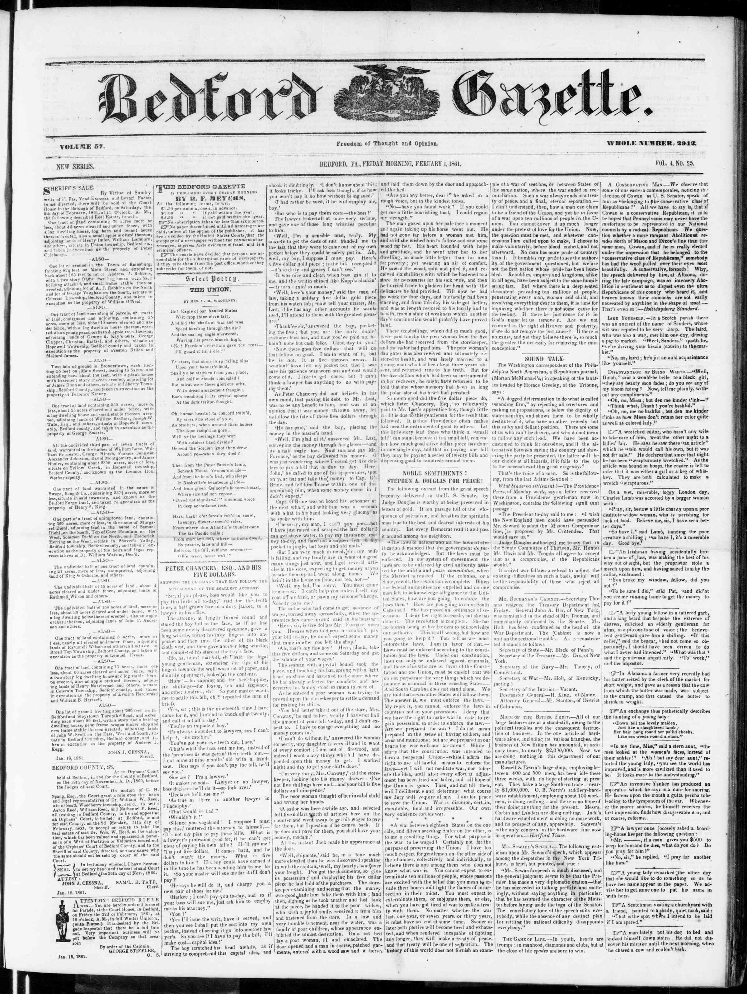 Newspaper of Bedford Gazette dated February 1, 1861 Page 1
