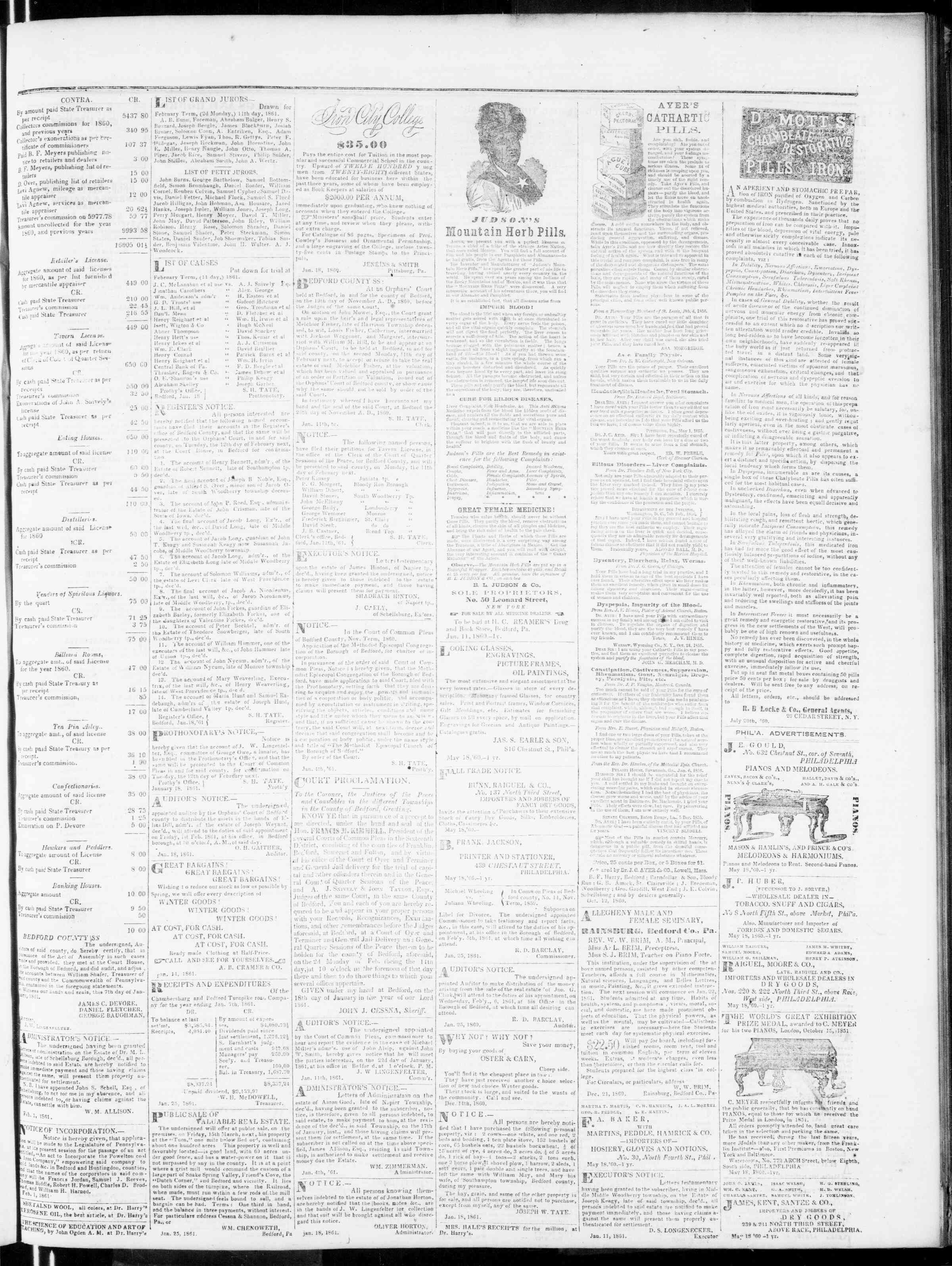 Newspaper of Bedford Gazette dated February 1, 1861 Page 3