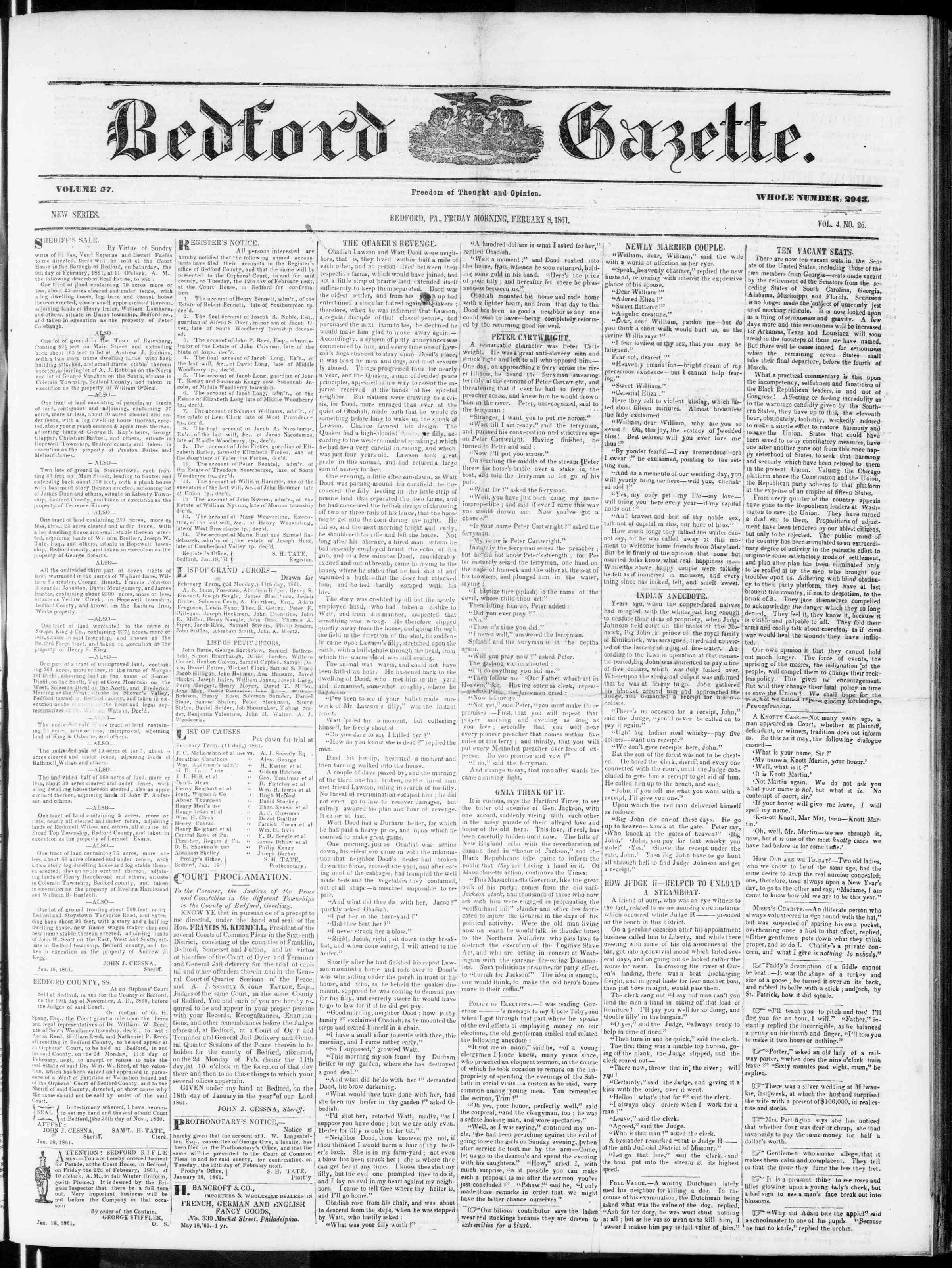 Newspaper of Bedford Gazette dated February 8, 1861 Page 1