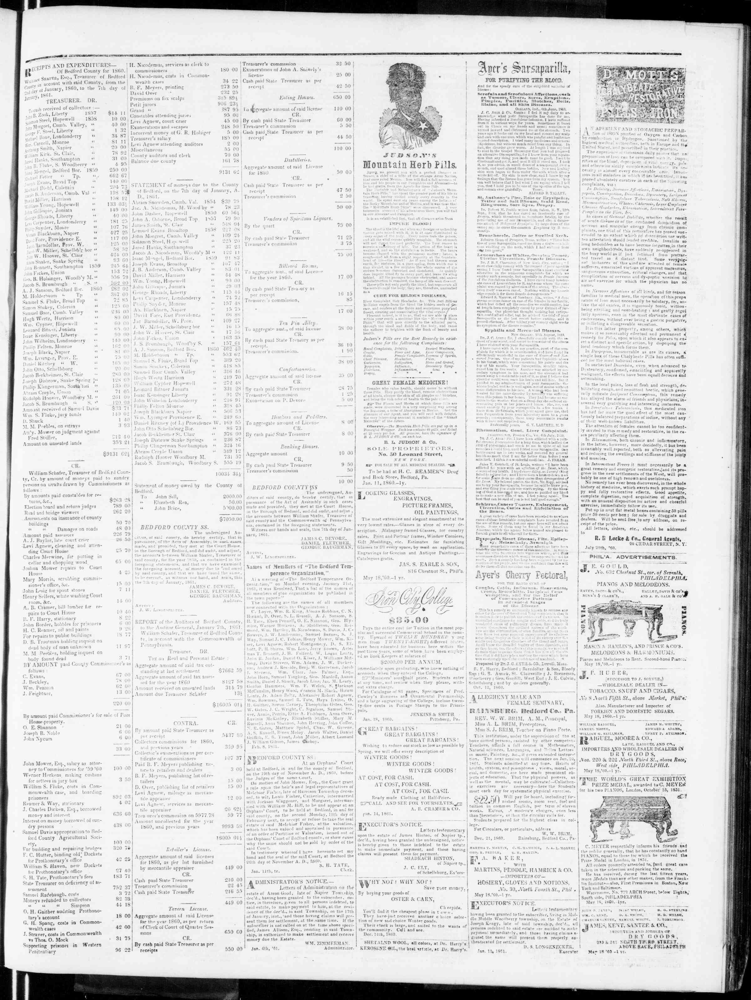 Newspaper of Bedford Gazette dated February 8, 1861 Page 3
