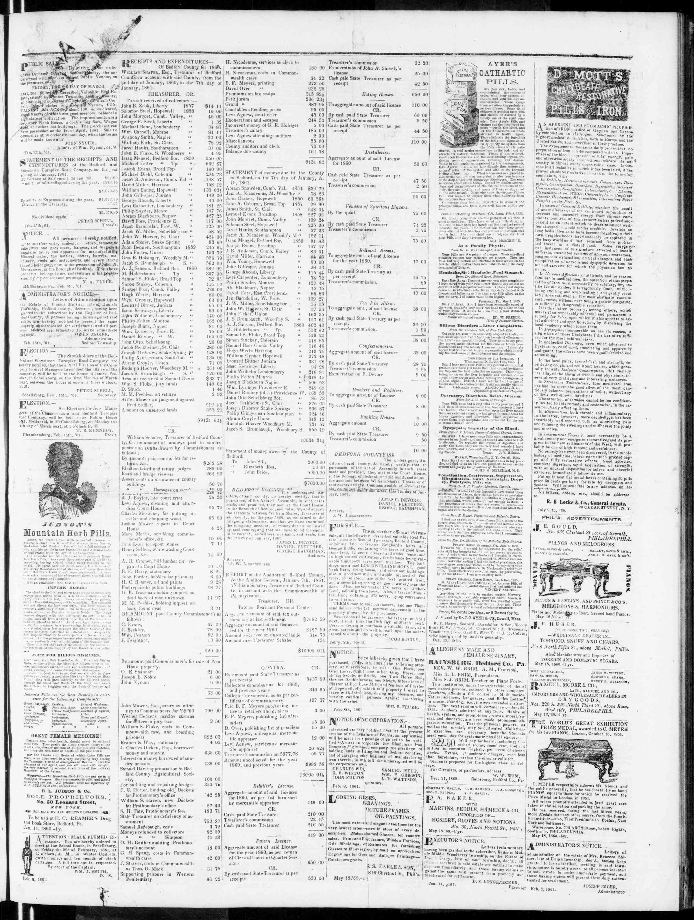 Newspaper of Bedford Gazette dated February 15, 1861 Page 3