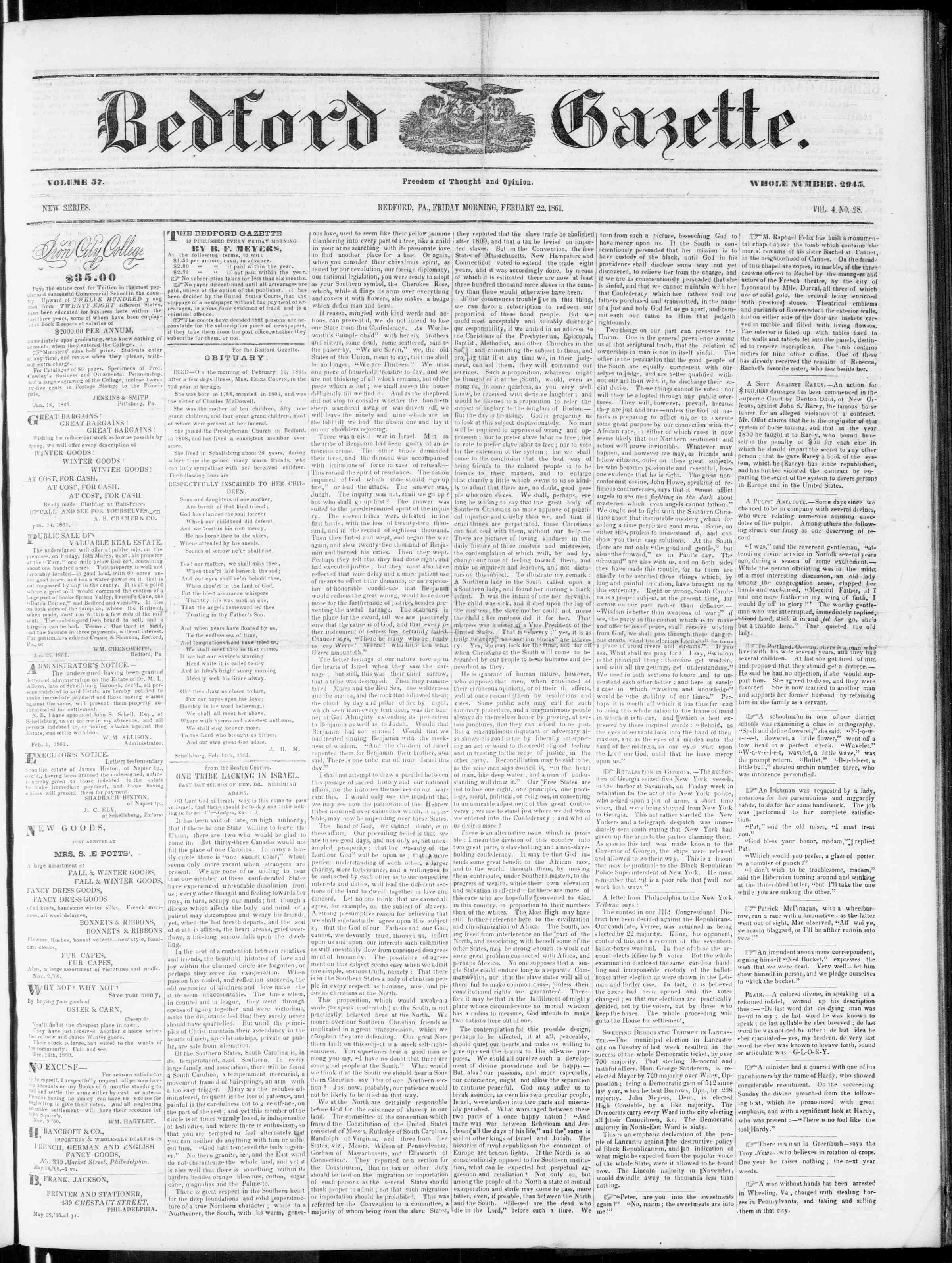 Newspaper of Bedford Gazette dated February 22, 1861 Page 1