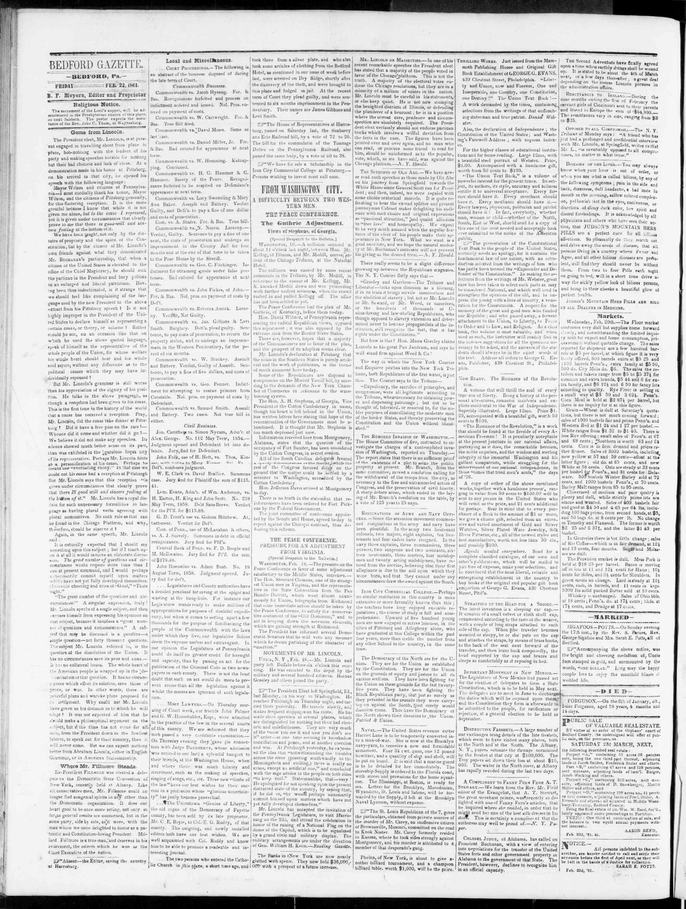 Newspaper of Bedford Gazette dated February 22, 1861 Page 2