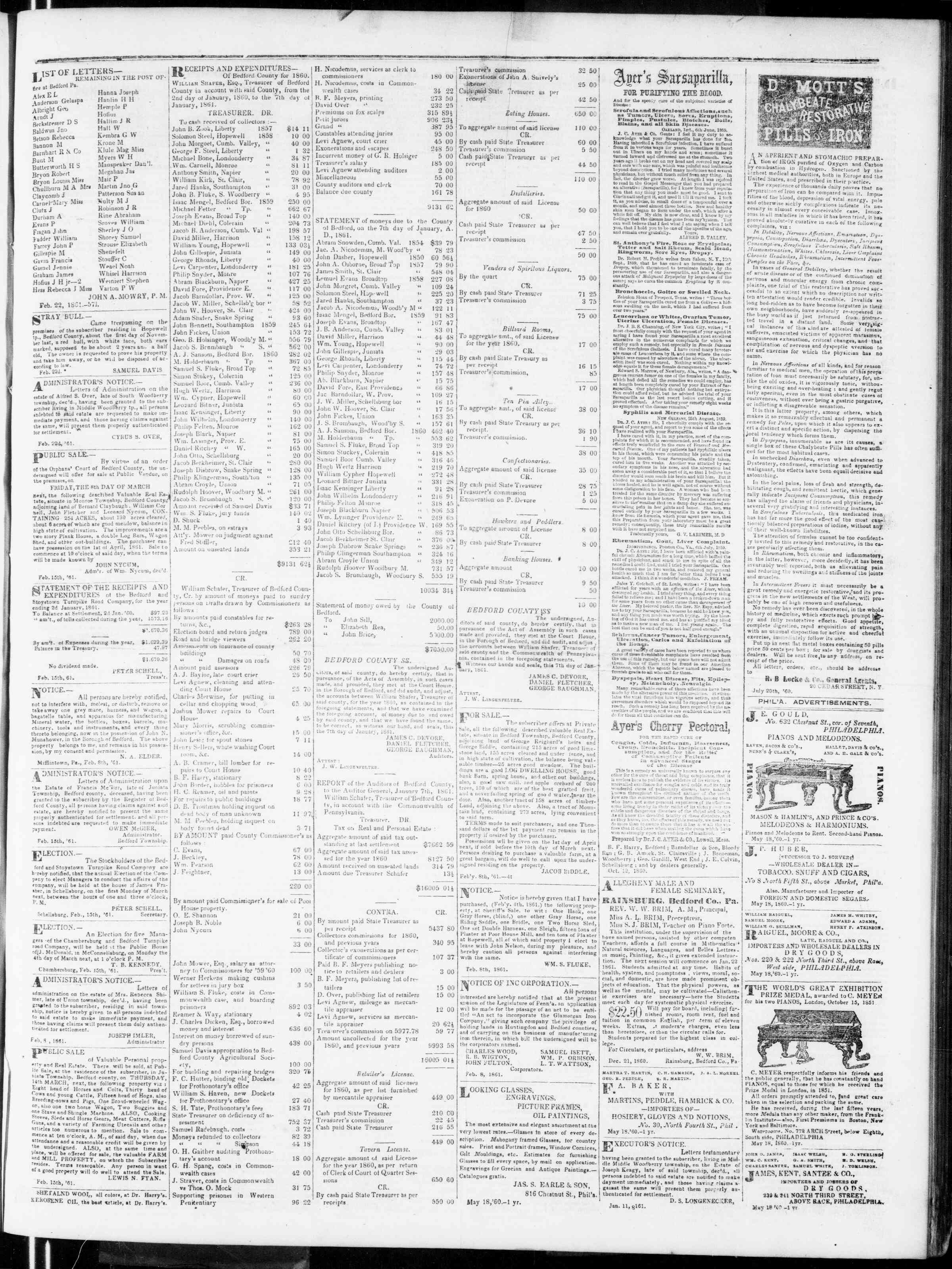 Newspaper of Bedford Gazette dated February 22, 1861 Page 3