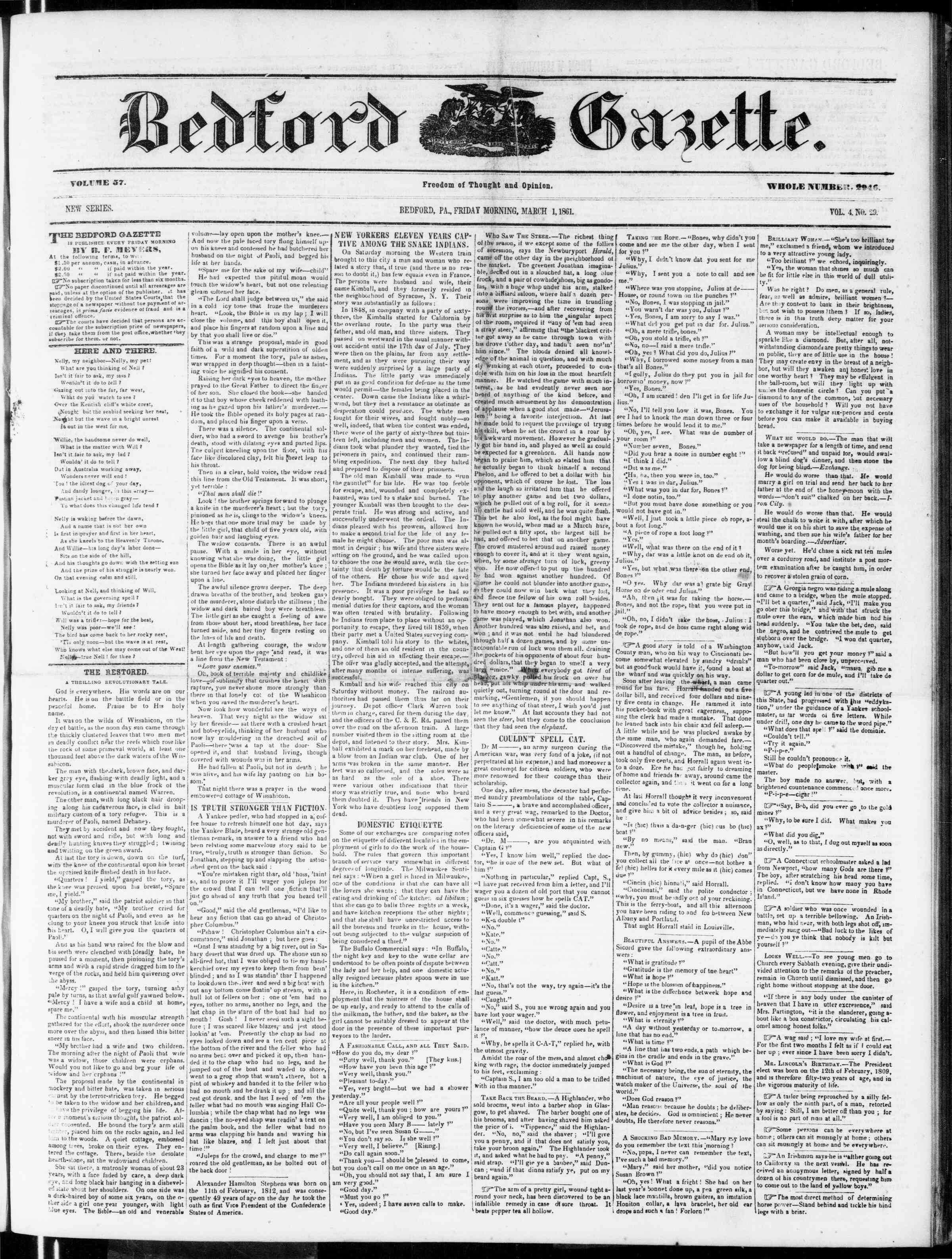 Newspaper of Bedford Gazette dated March 1, 1861 Page 1