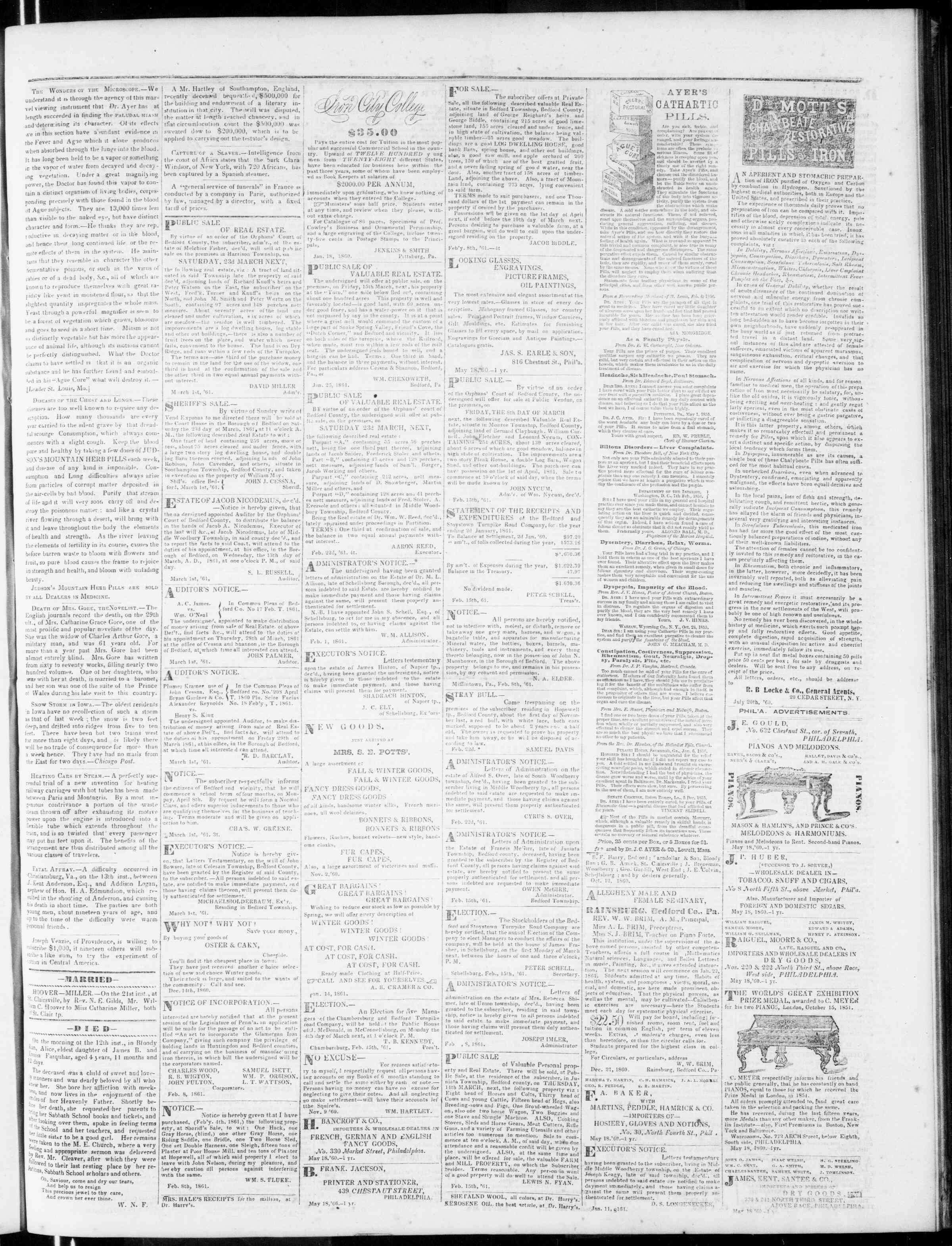 Newspaper of Bedford Gazette dated March 1, 1861 Page 3