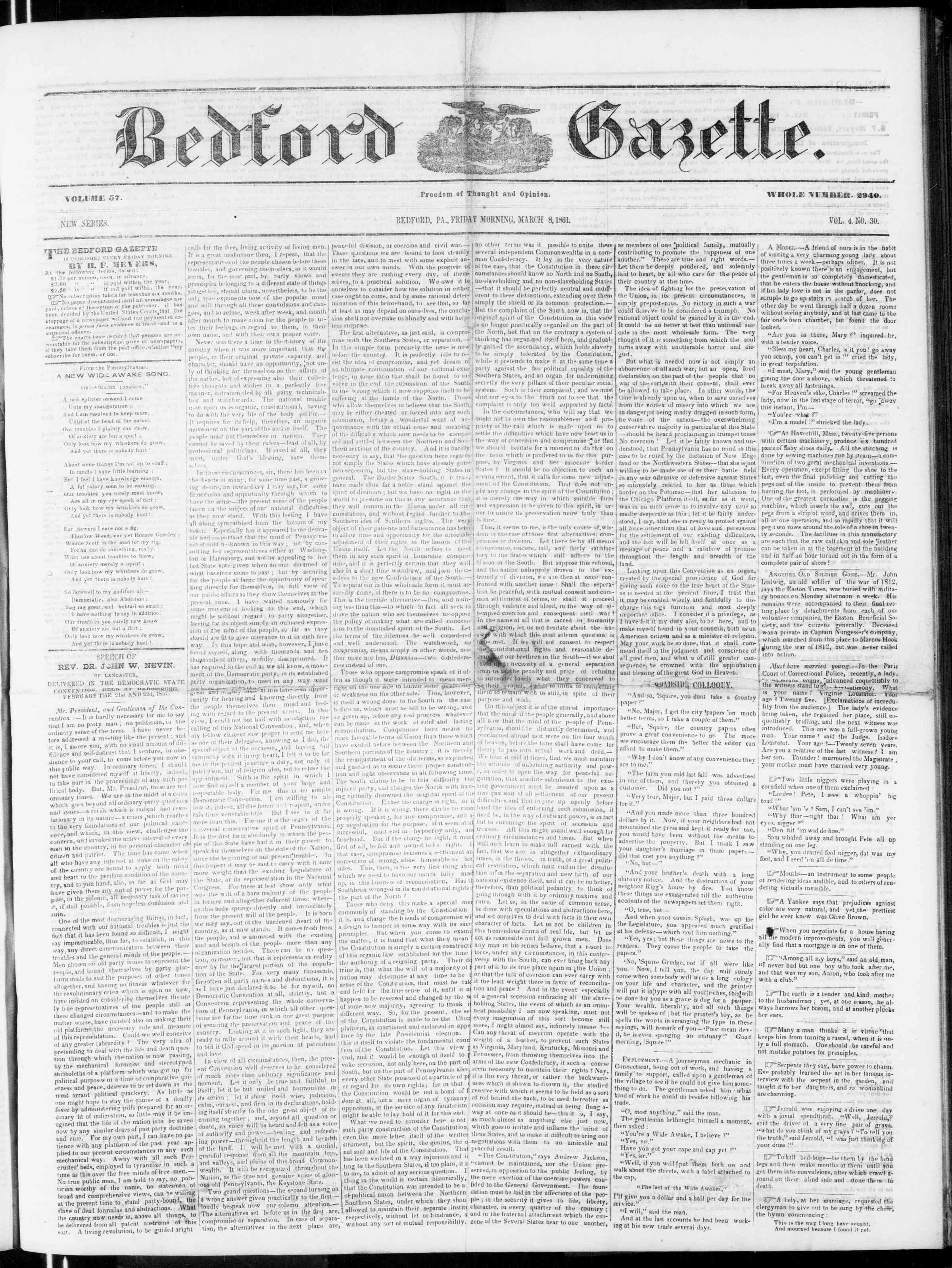 Newspaper of Bedford Gazette dated March 8, 1861 Page 1