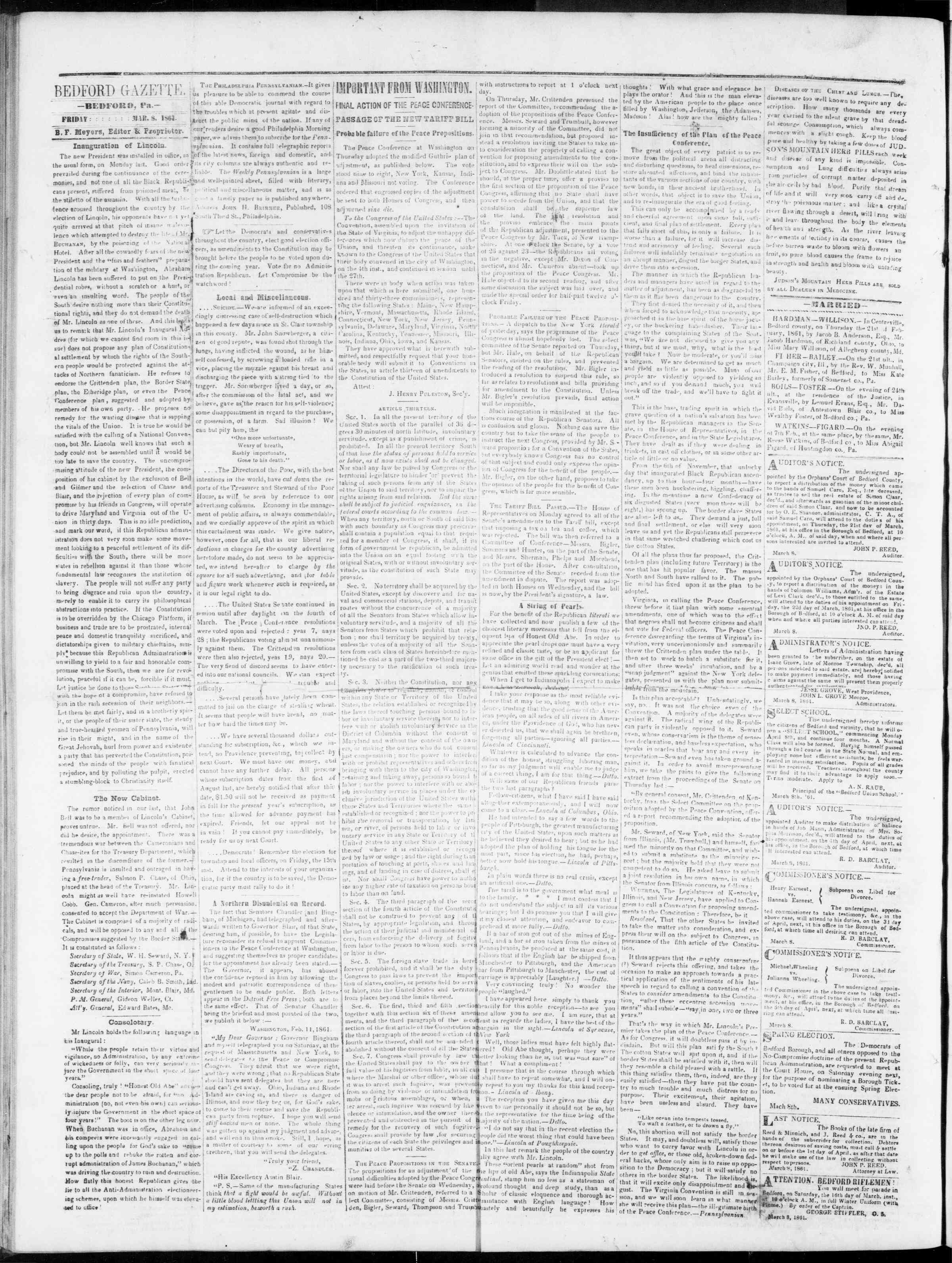 Newspaper of Bedford Gazette dated 8 Mart 1861 Page 2