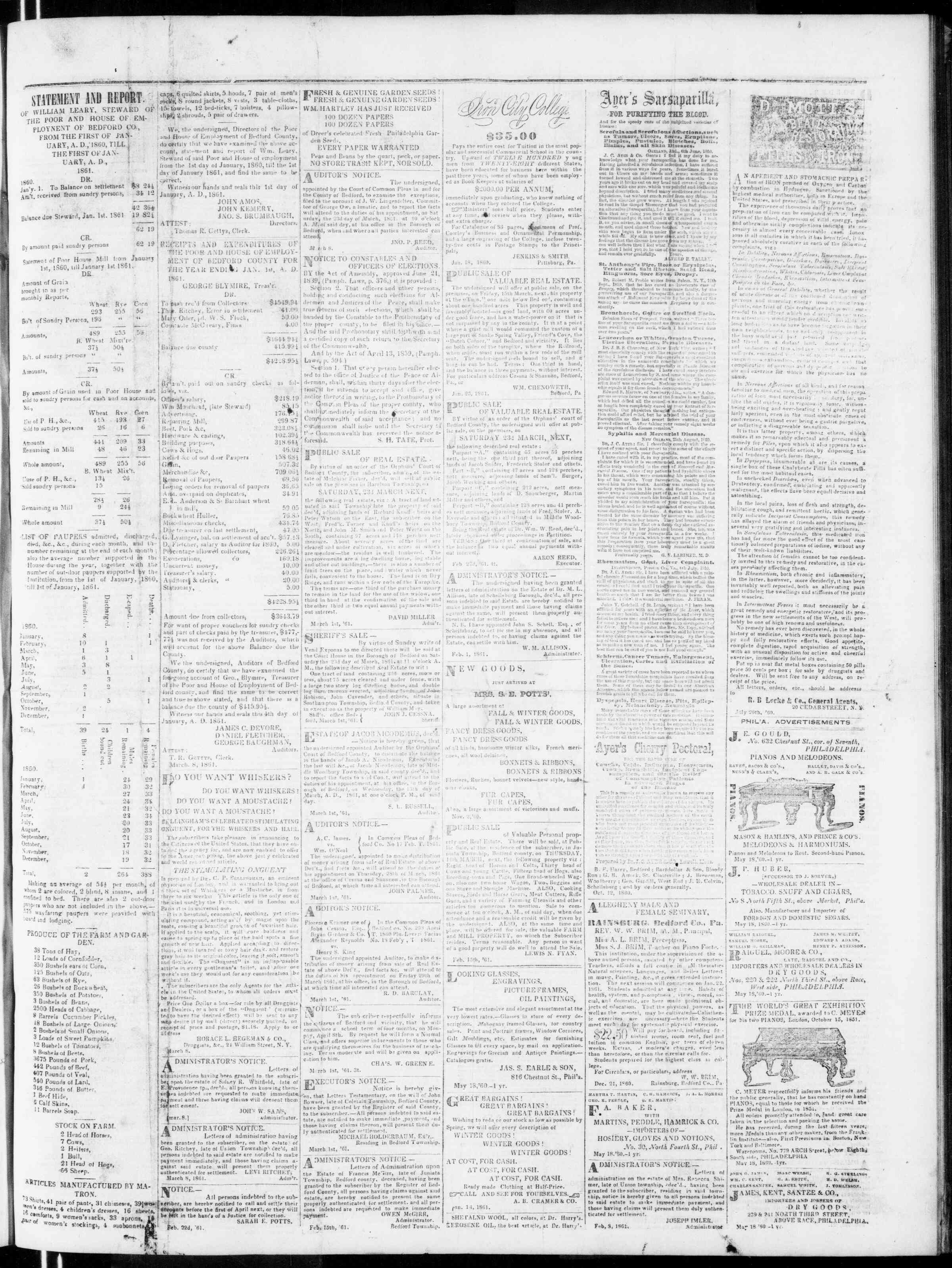 Newspaper of Bedford Gazette dated March 8, 1861 Page 3