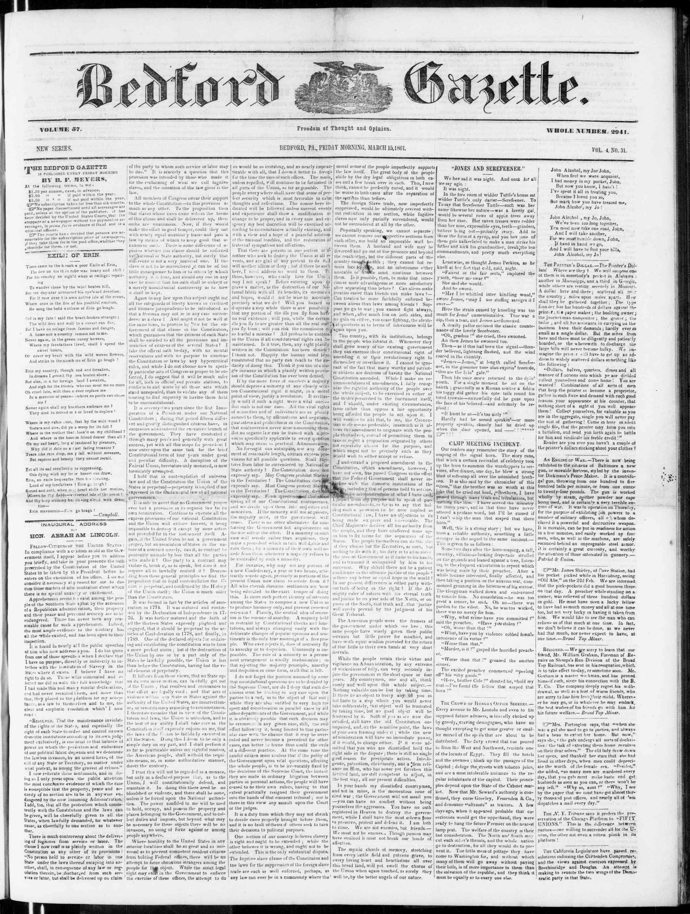 Newspaper of Bedford Gazette dated March 15, 1861 Page 1