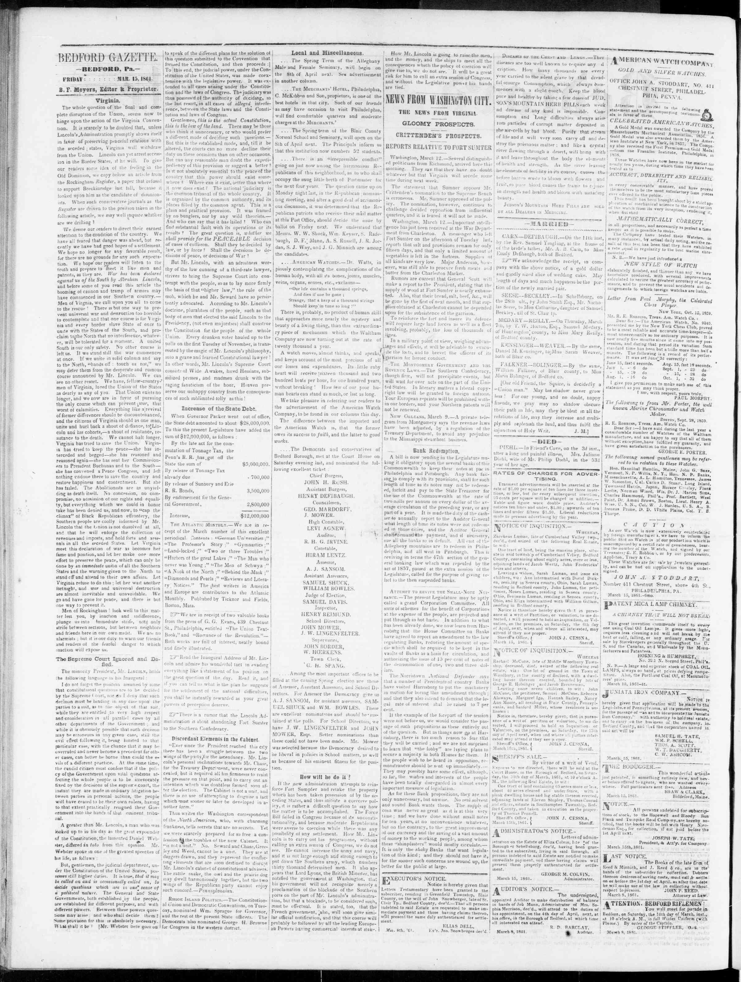 Newspaper of Bedford Gazette dated March 15, 1861 Page 2