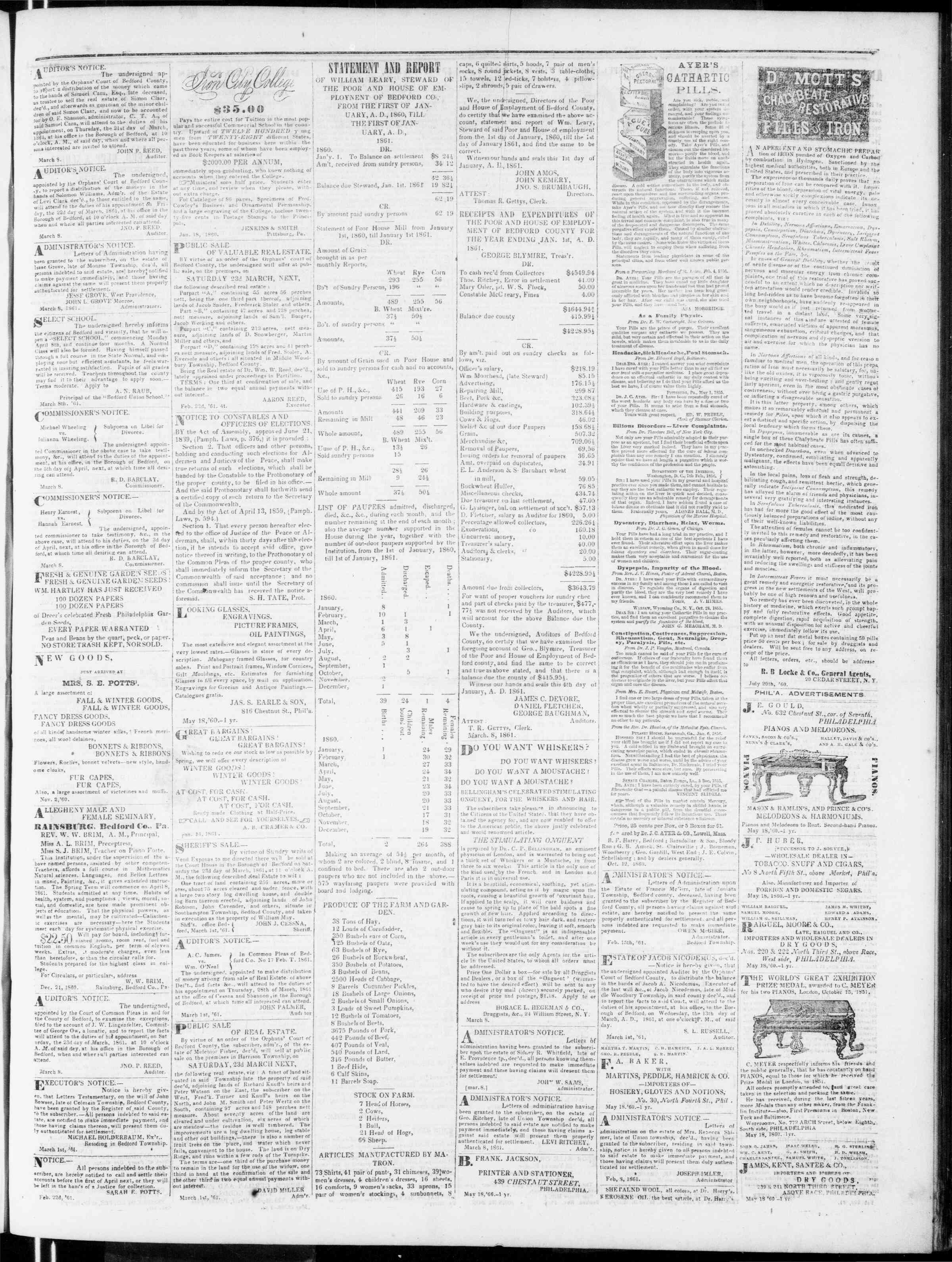 Newspaper of Bedford Gazette dated March 15, 1861 Page 3