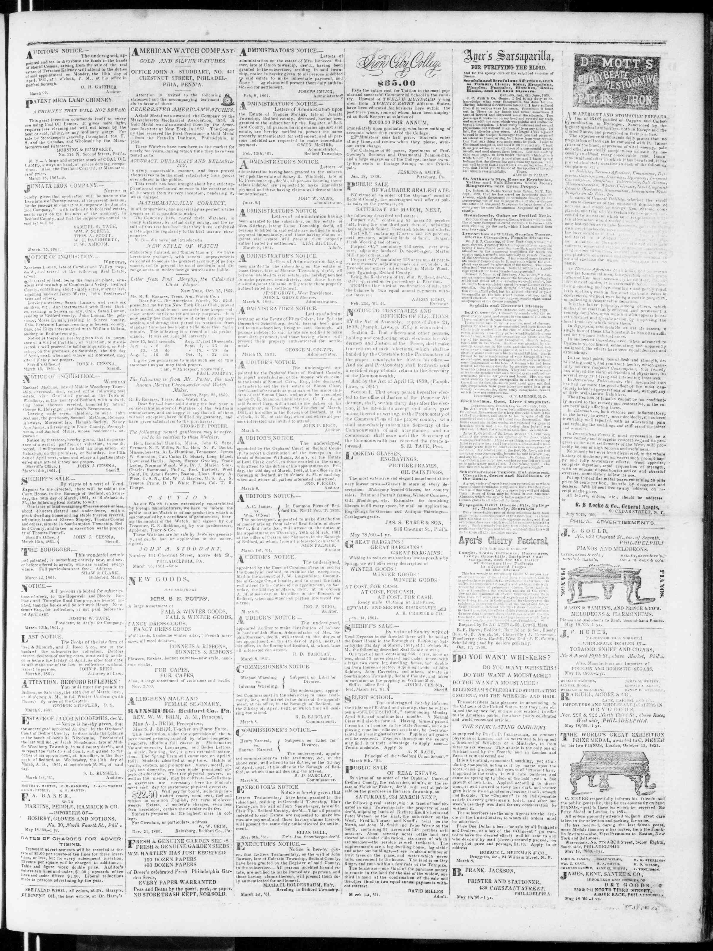 Newspaper of Bedford Gazette dated March 22, 1861 Page 3