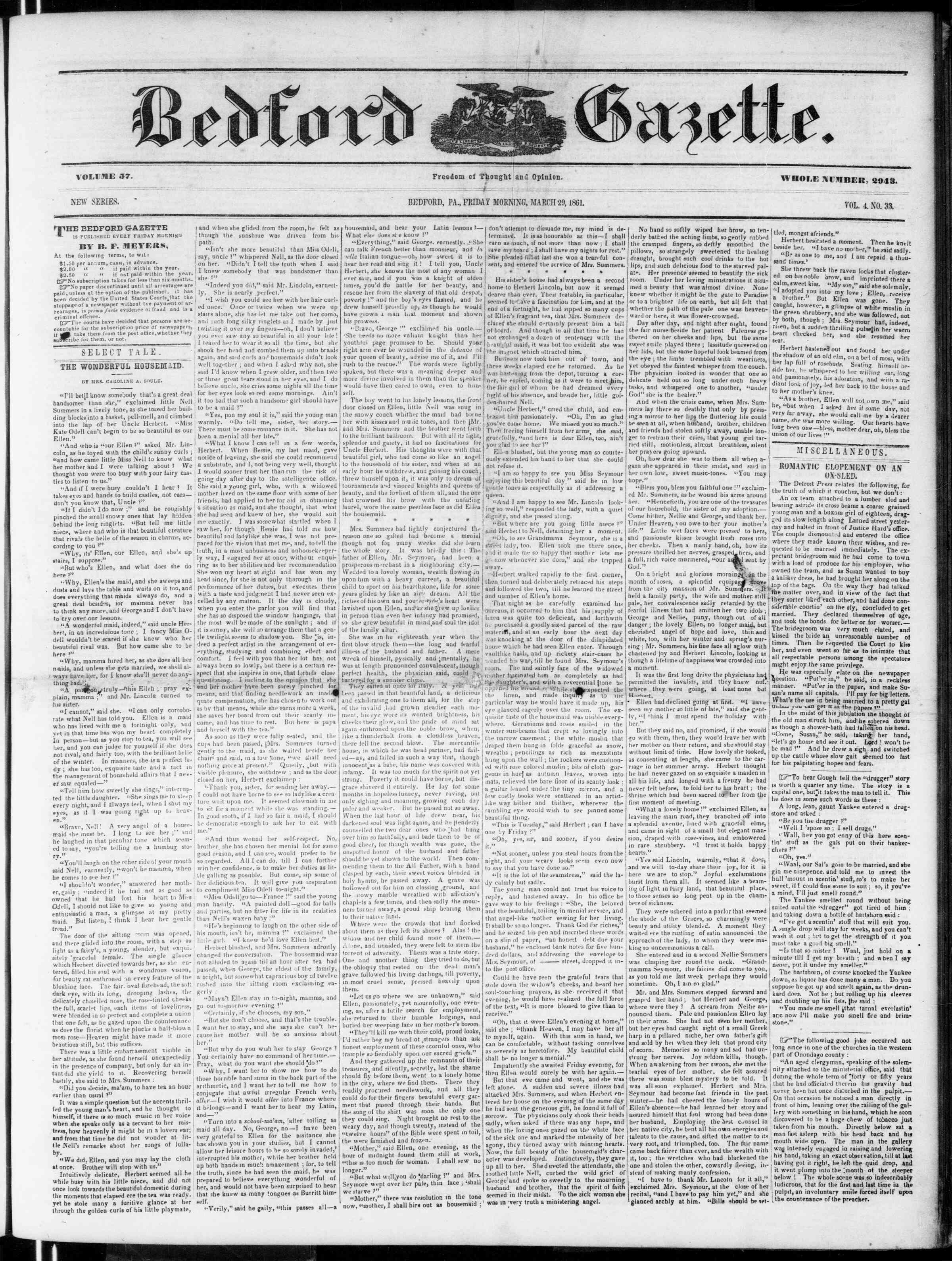 Newspaper of Bedford Gazette dated March 29, 1861 Page 1