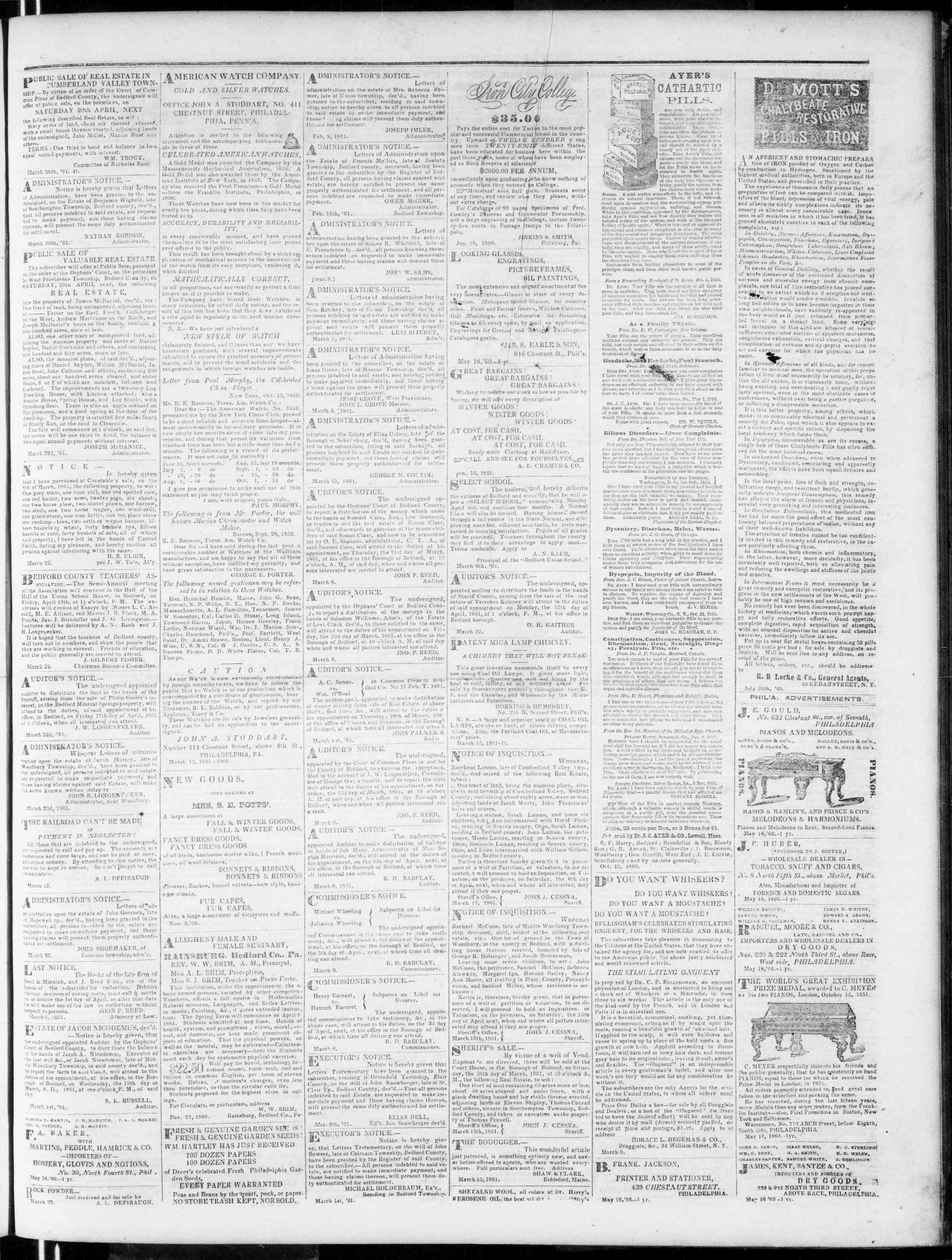 Newspaper of Bedford Gazette dated March 29, 1861 Page 3
