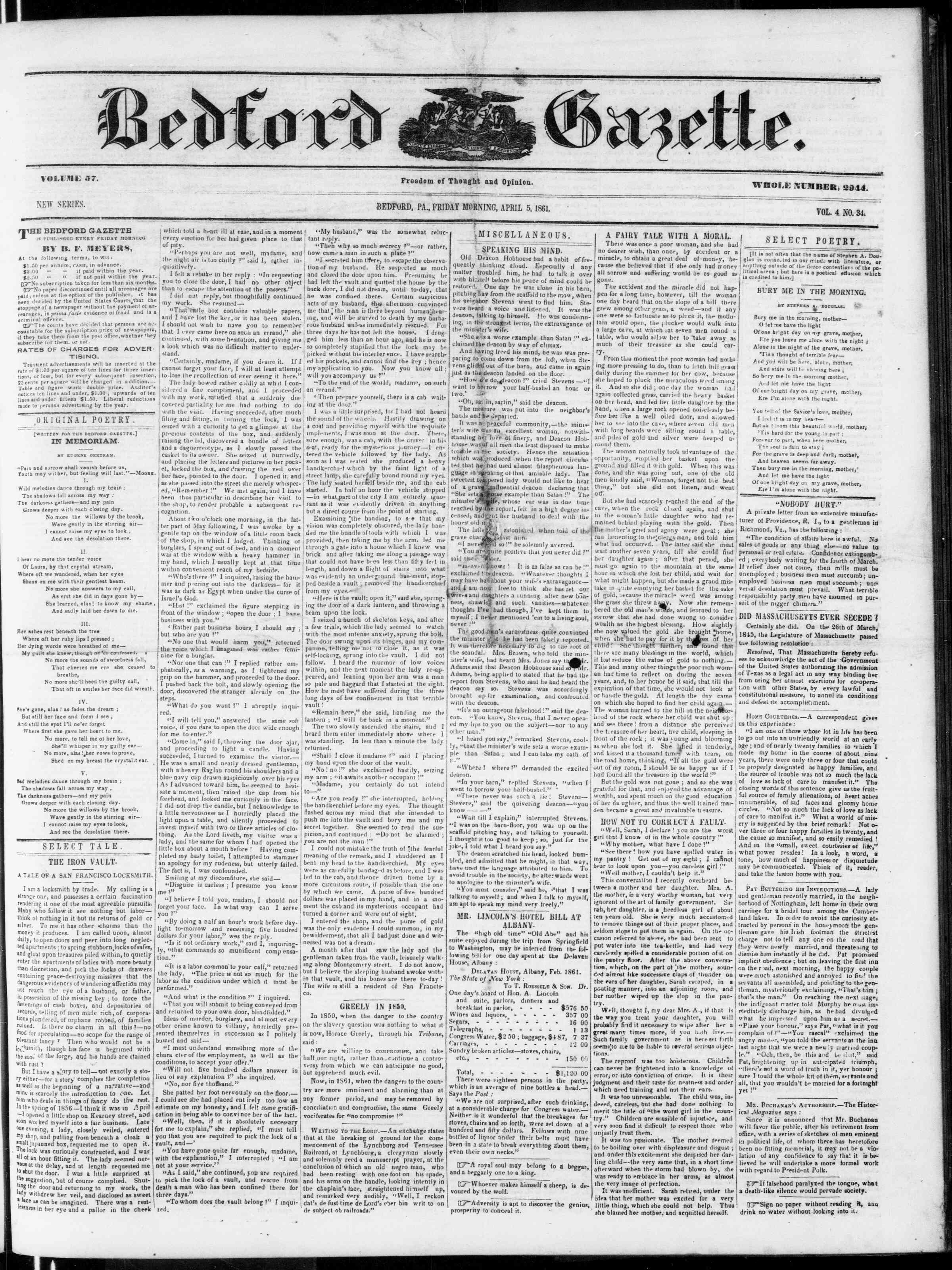 Newspaper of Bedford Gazette dated April 5, 1861 Page 1