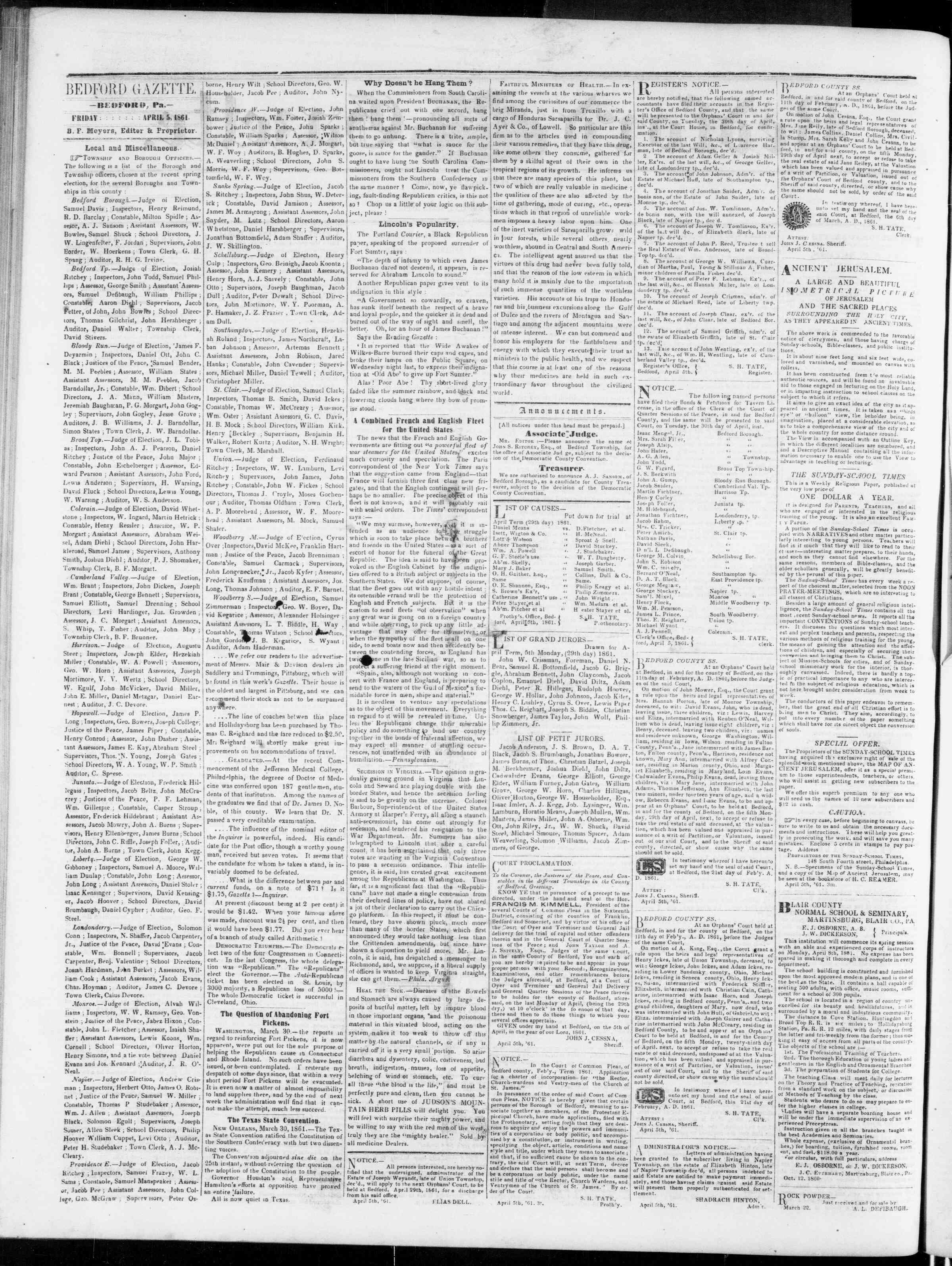 Newspaper of Bedford Gazette dated April 5, 1861 Page 2