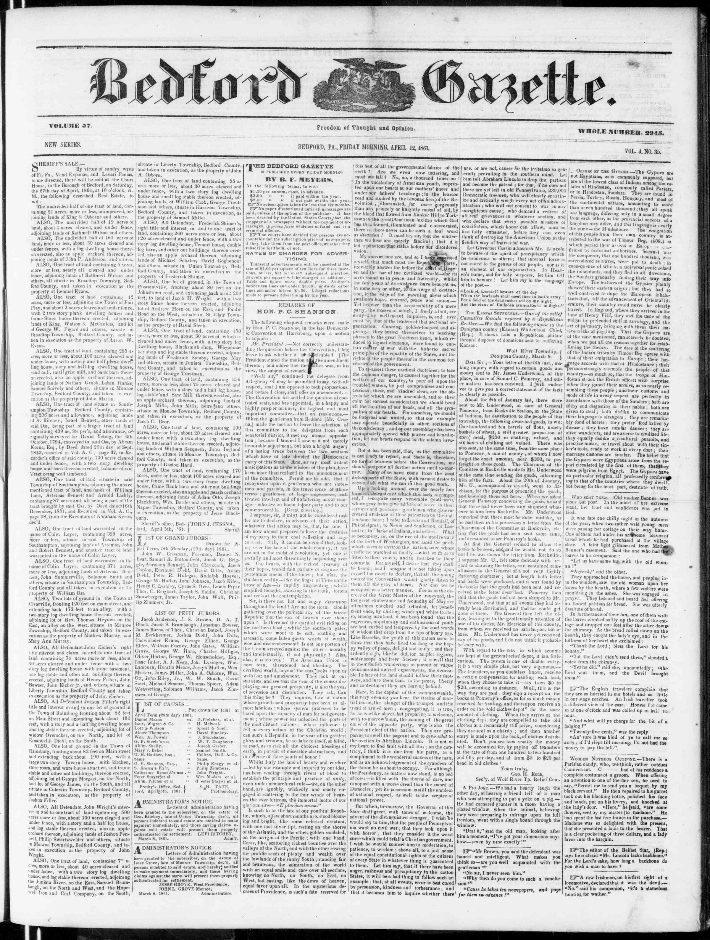 Newspaper of Bedford Gazette dated April 12, 1861 Page 1