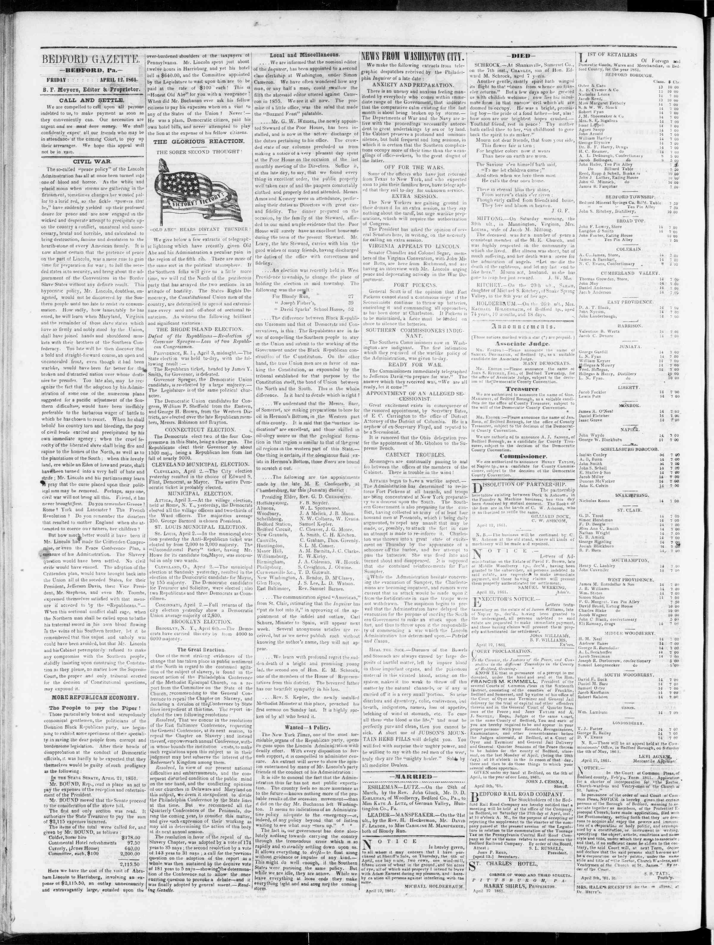 Newspaper of Bedford Gazette dated April 12, 1861 Page 2