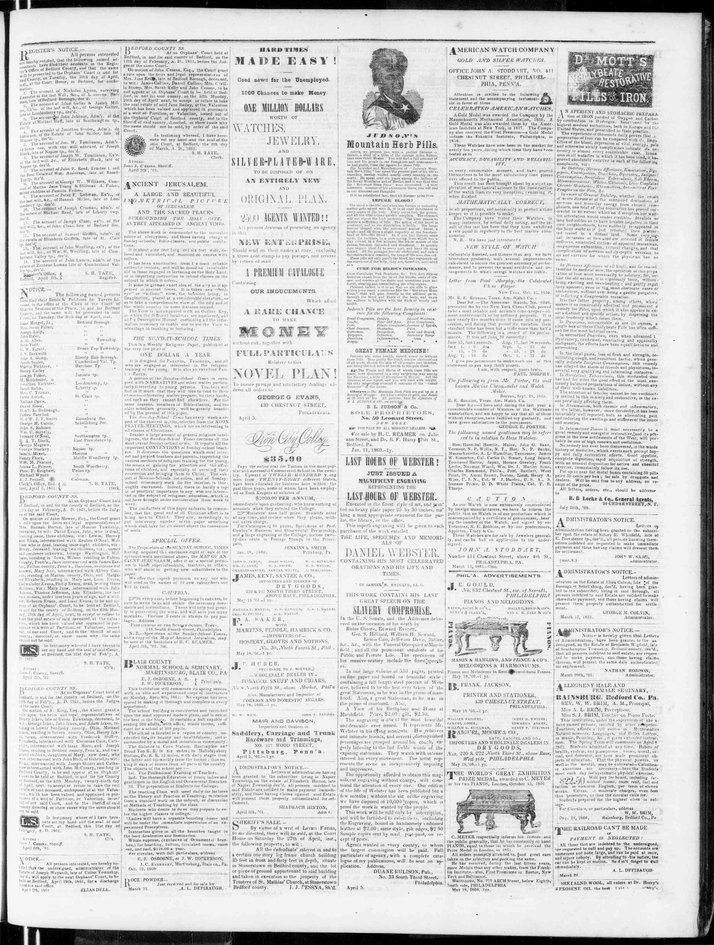 Newspaper of Bedford Gazette dated April 12, 1861 Page 3