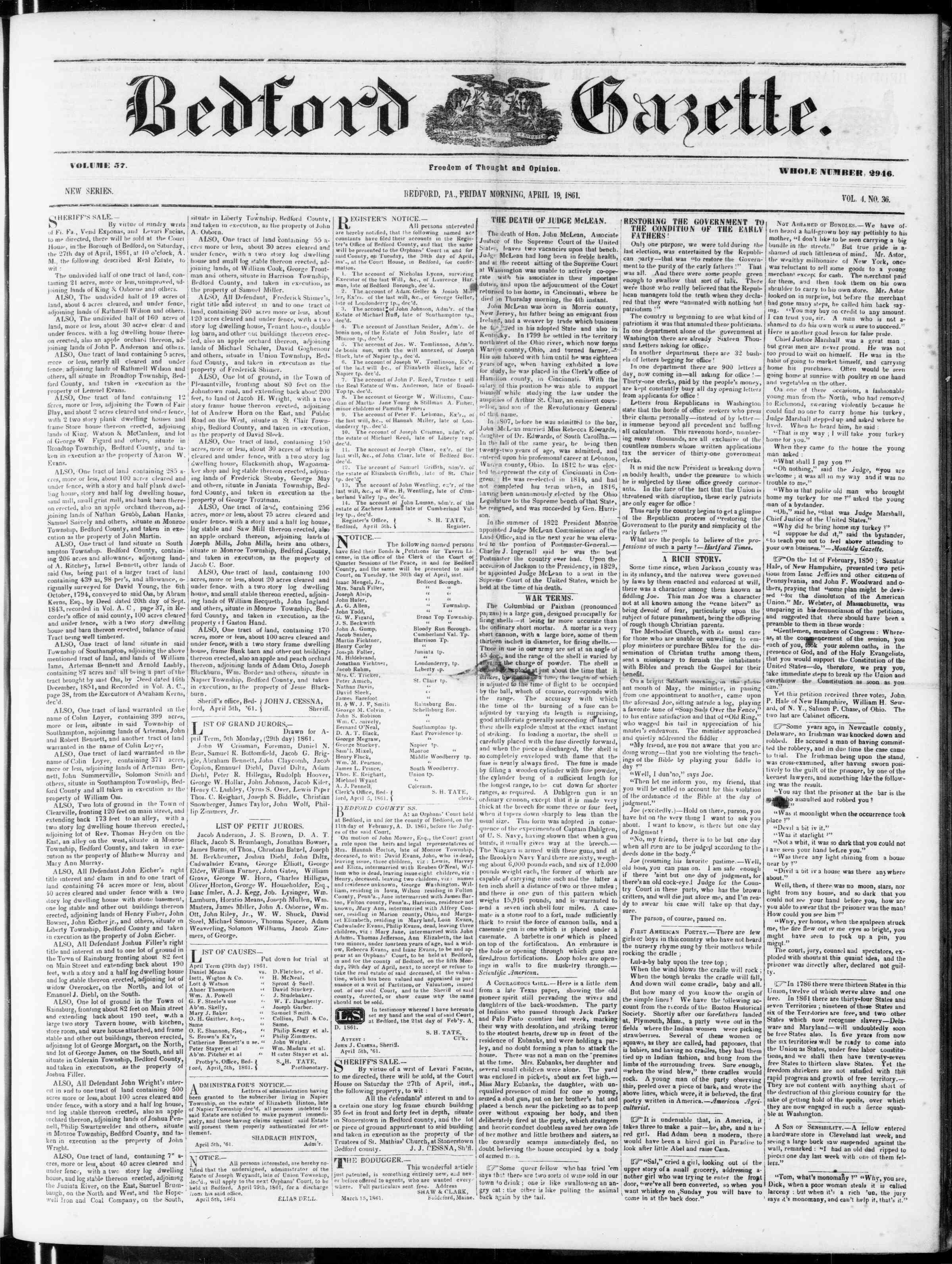 19 Nisan 1861 tarihli Bedford Gazette Gazetesi Sayfa 1