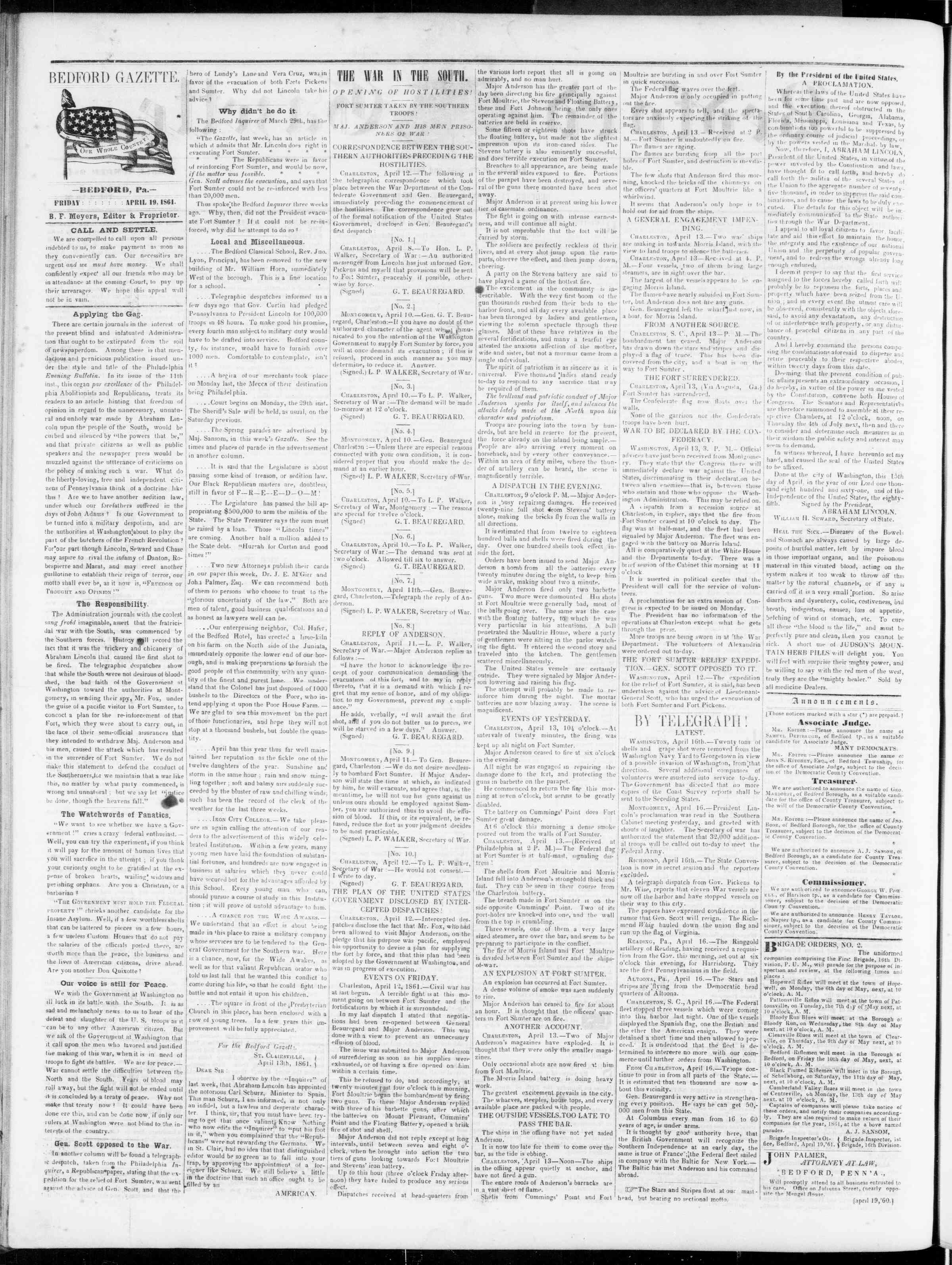 Newspaper of Bedford Gazette dated April 19, 1861 Page 2