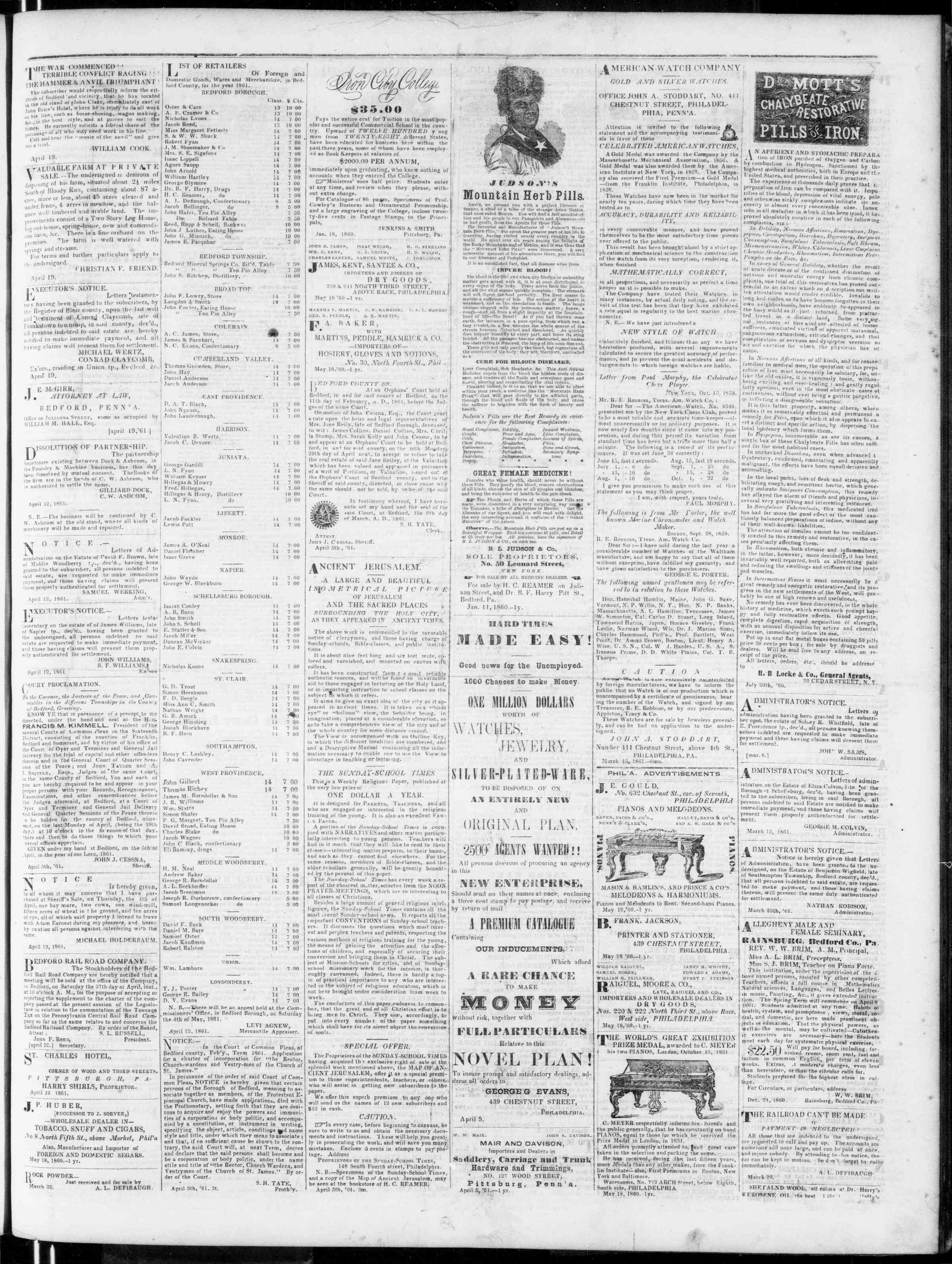 Newspaper of Bedford Gazette dated April 19, 1861 Page 3