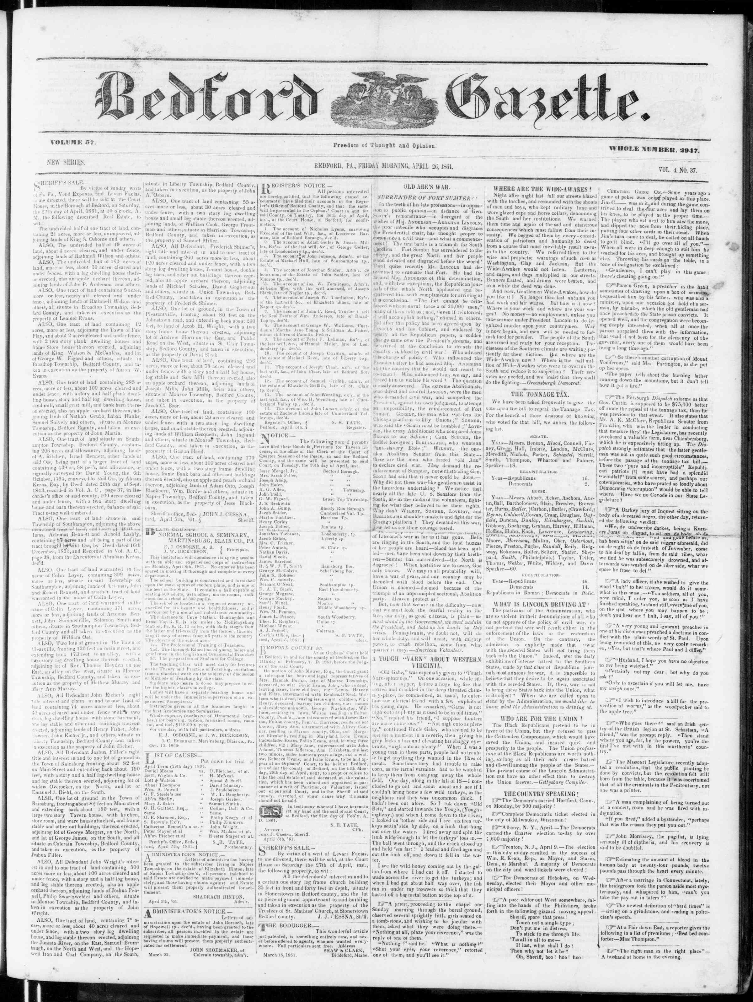 Newspaper of Bedford Gazette dated April 26, 1861 Page 1