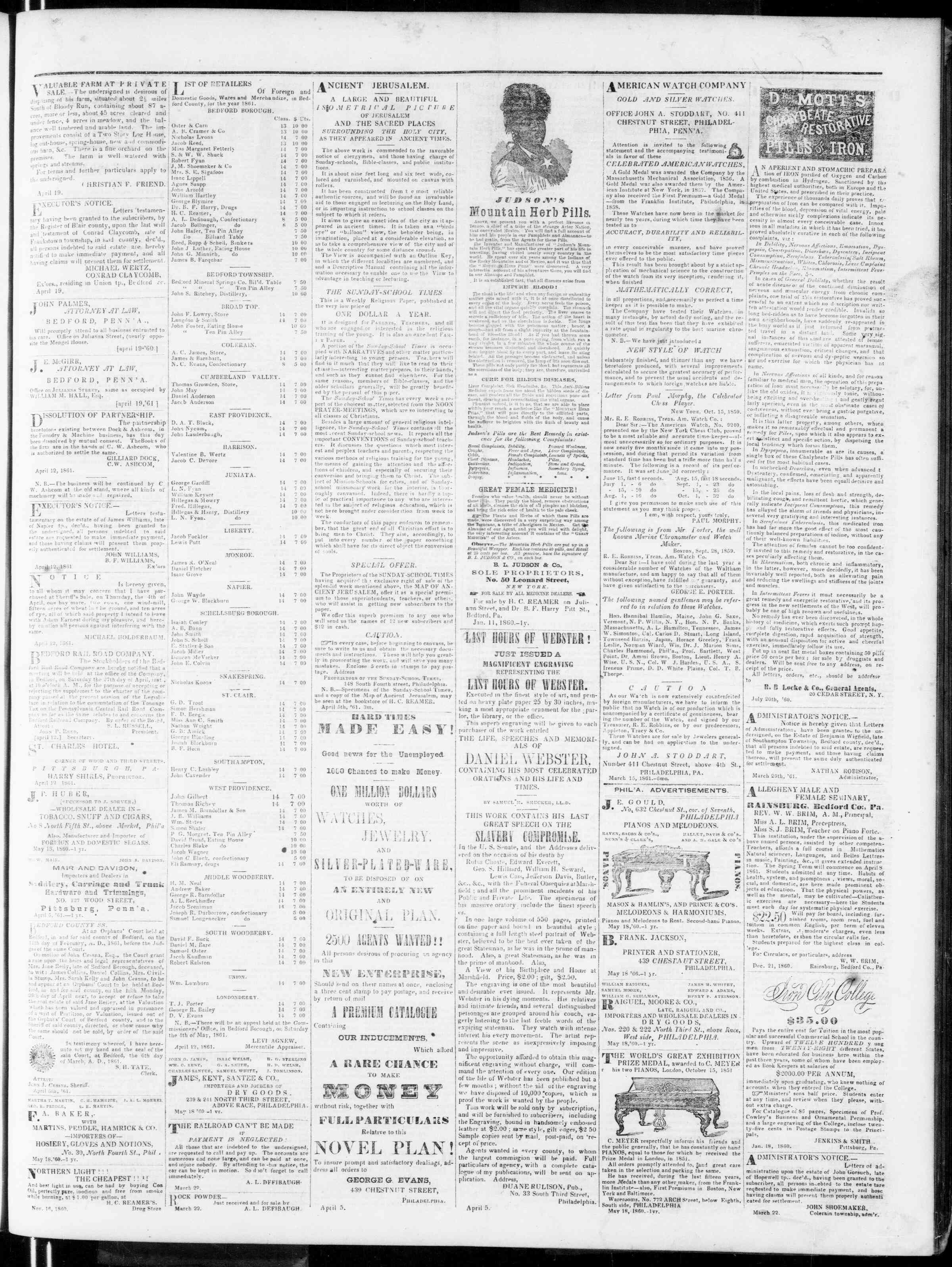Newspaper of Bedford Gazette dated April 26, 1861 Page 3