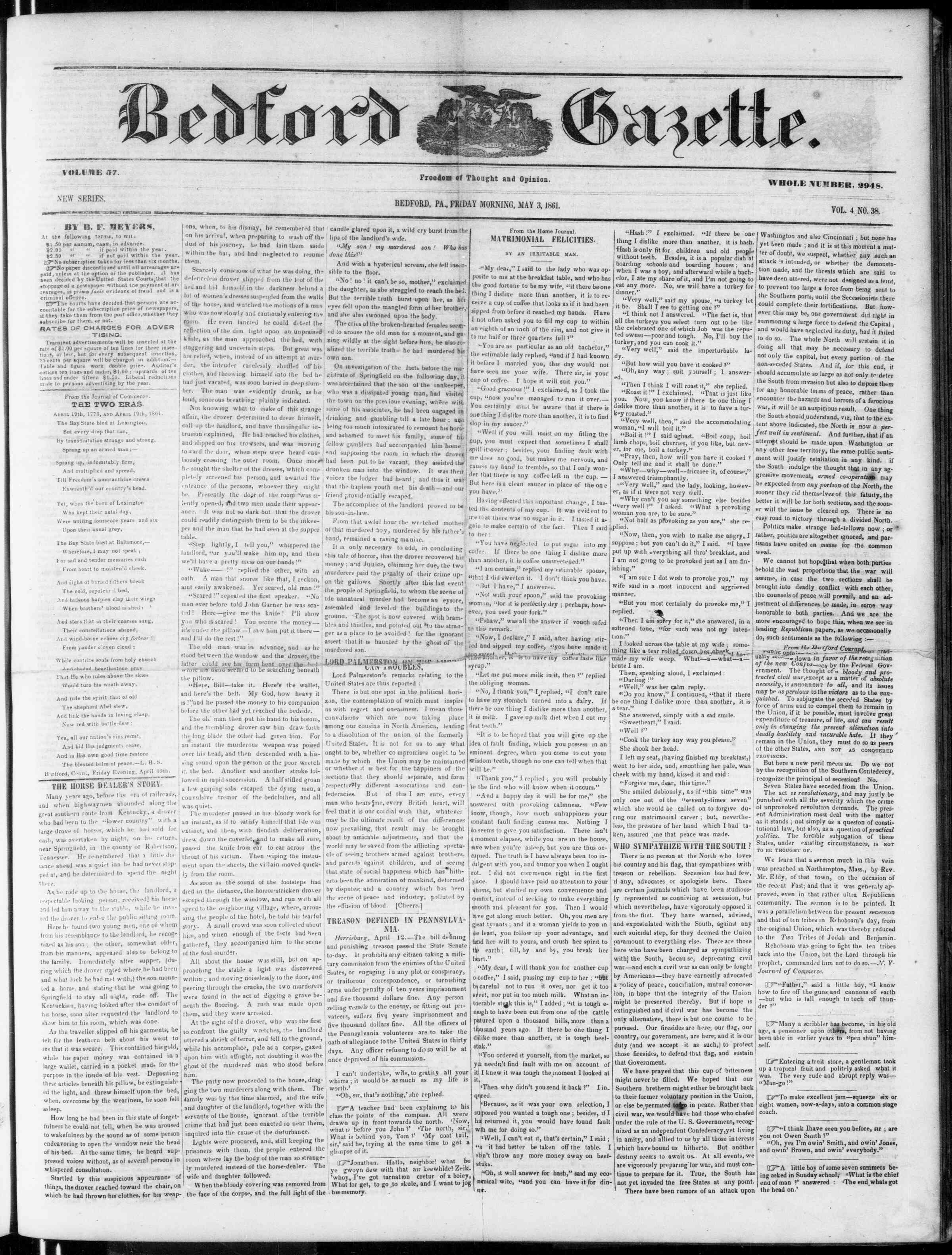 Newspaper of Bedford Gazette dated May 3, 1861 Page 1