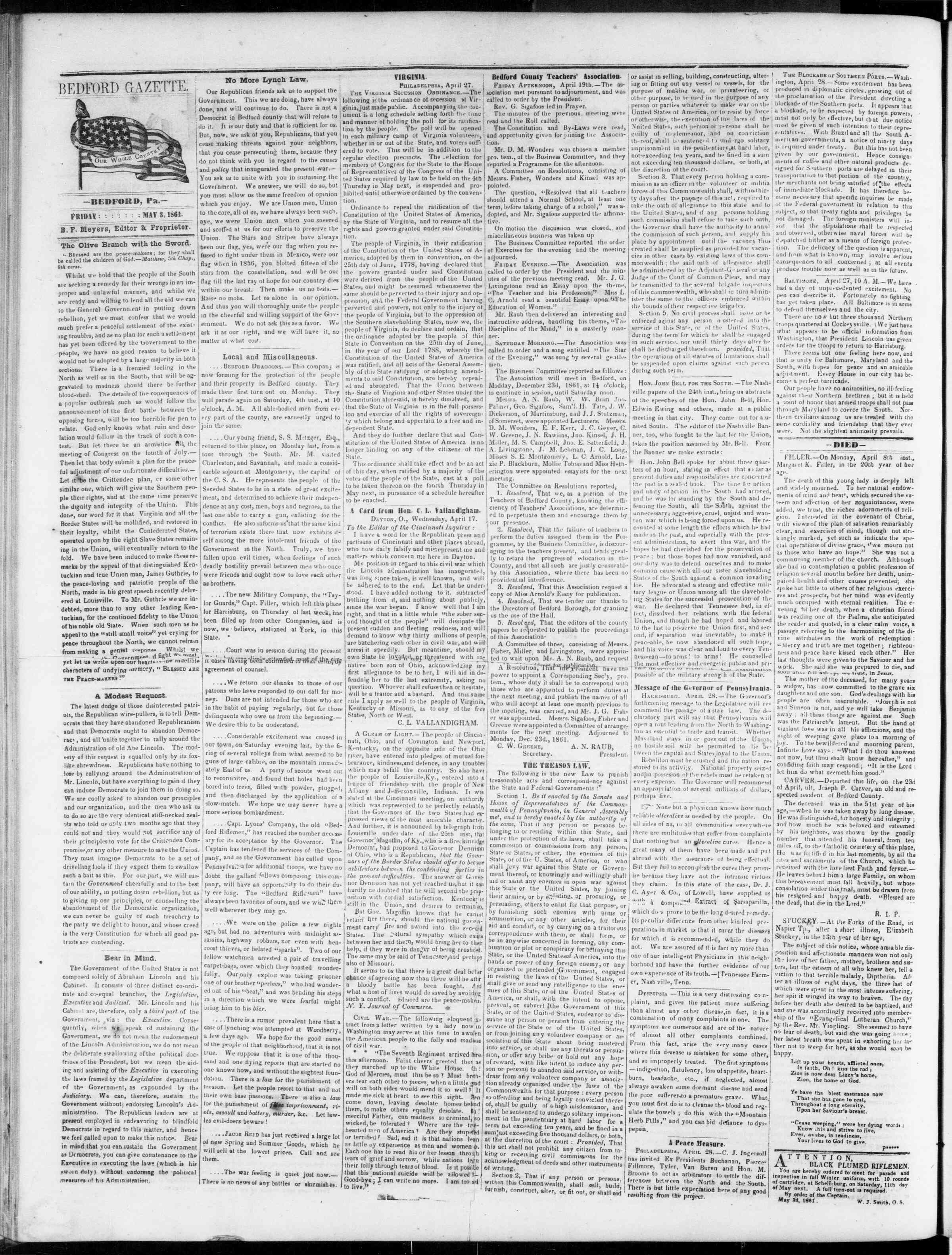 Newspaper of Bedford Gazette dated May 3, 1861 Page 2