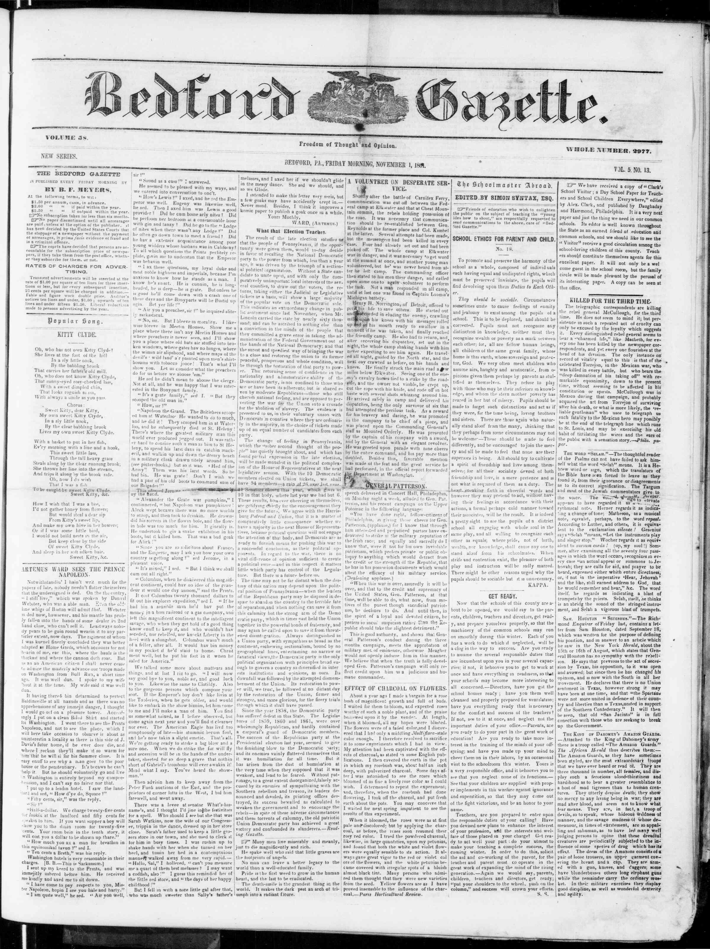 1 Kasım 1861 tarihli Bedford Gazette Gazetesi Sayfa 1