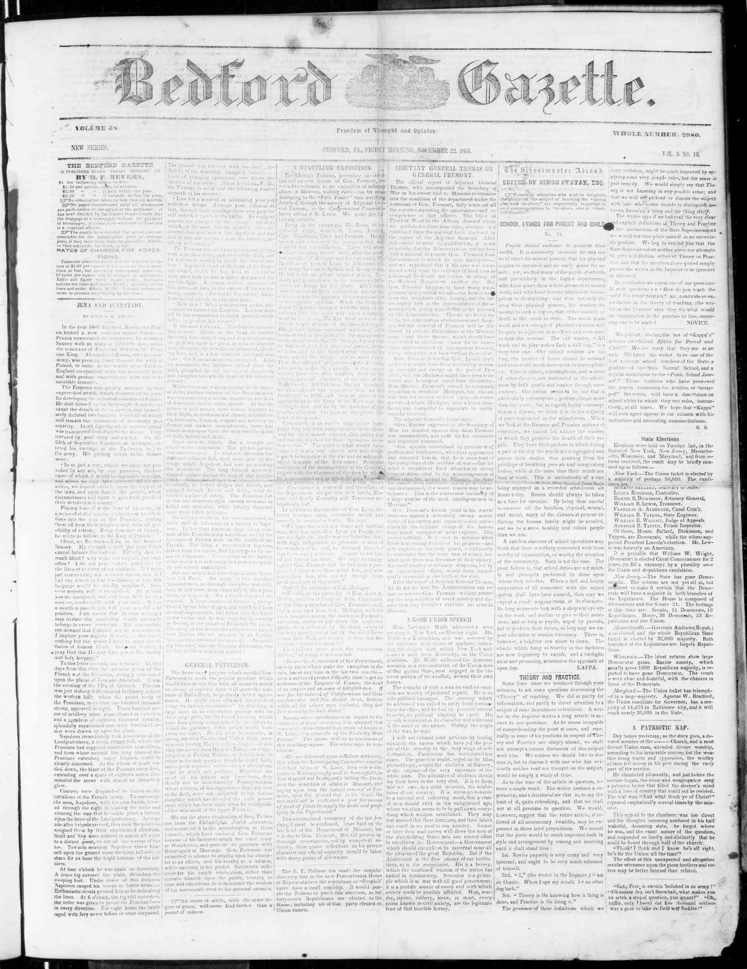 Newspaper of Bedford Gazette dated November 22, 1861 Page 1