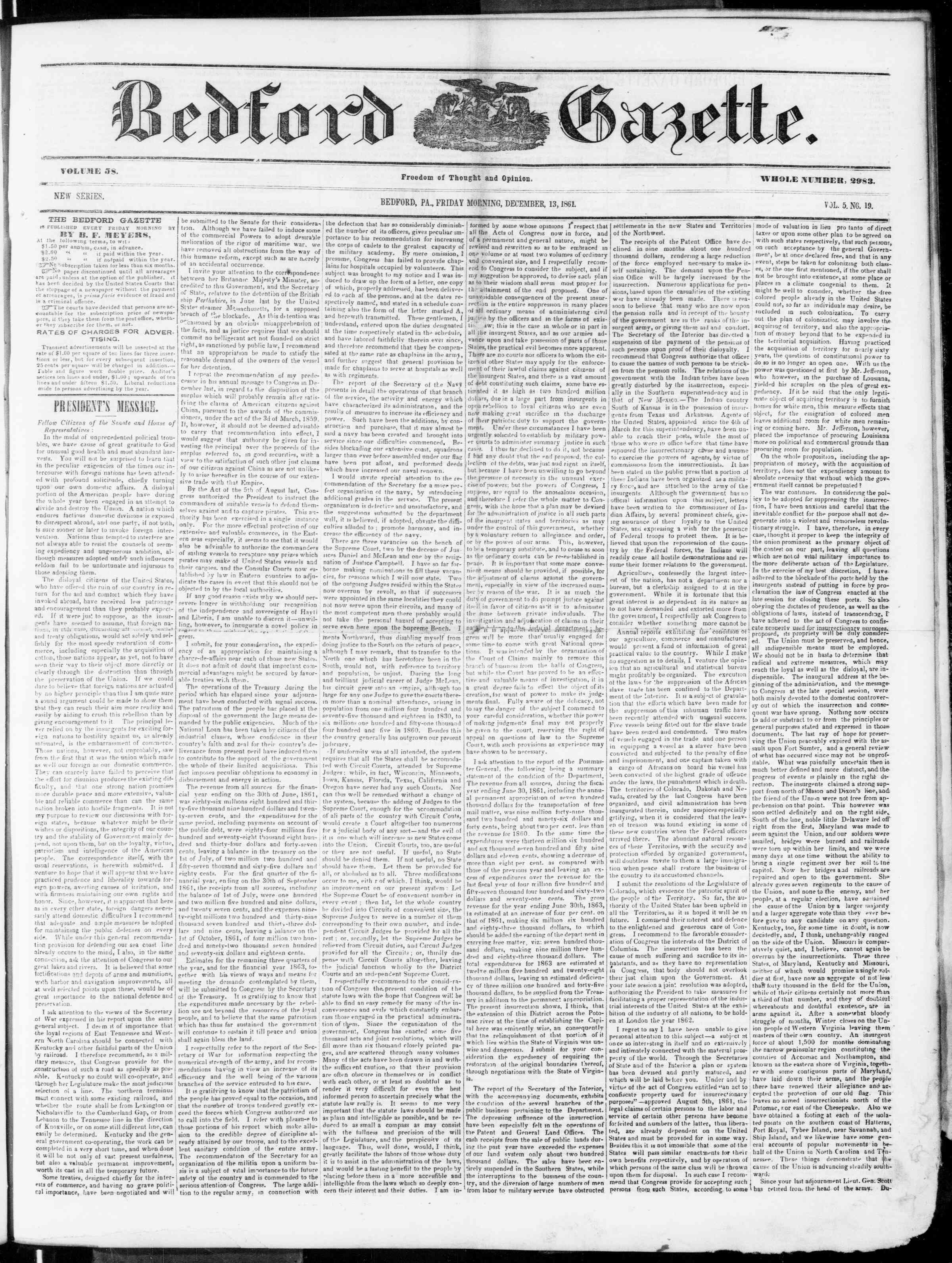 Newspaper of Bedford Gazette dated December 13, 1861 Page 1