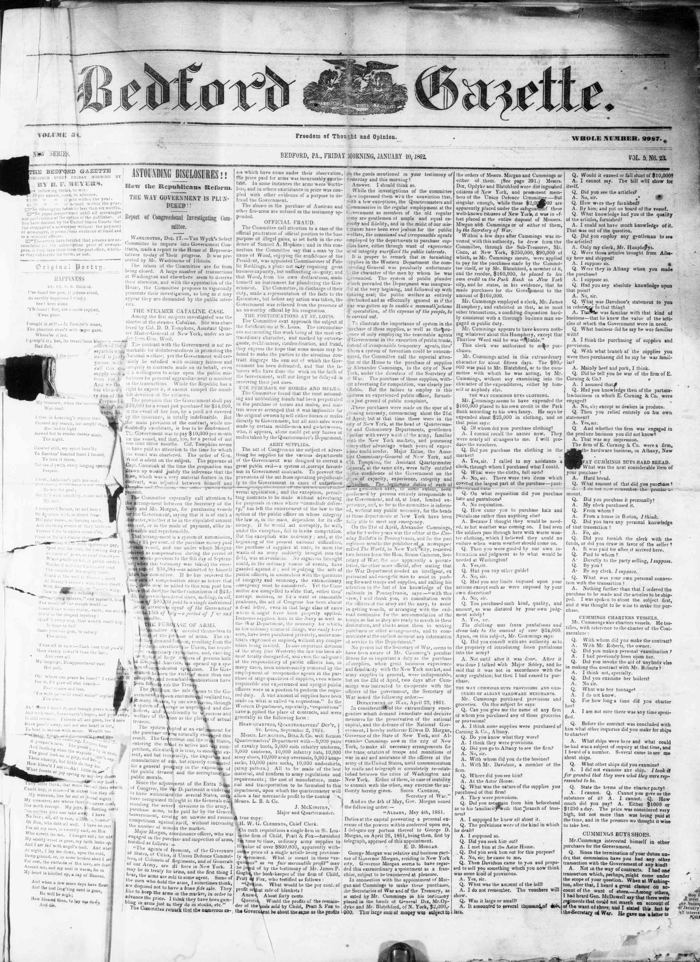 Newspaper of Bedford Gazette dated January 10, 1862 Page 1