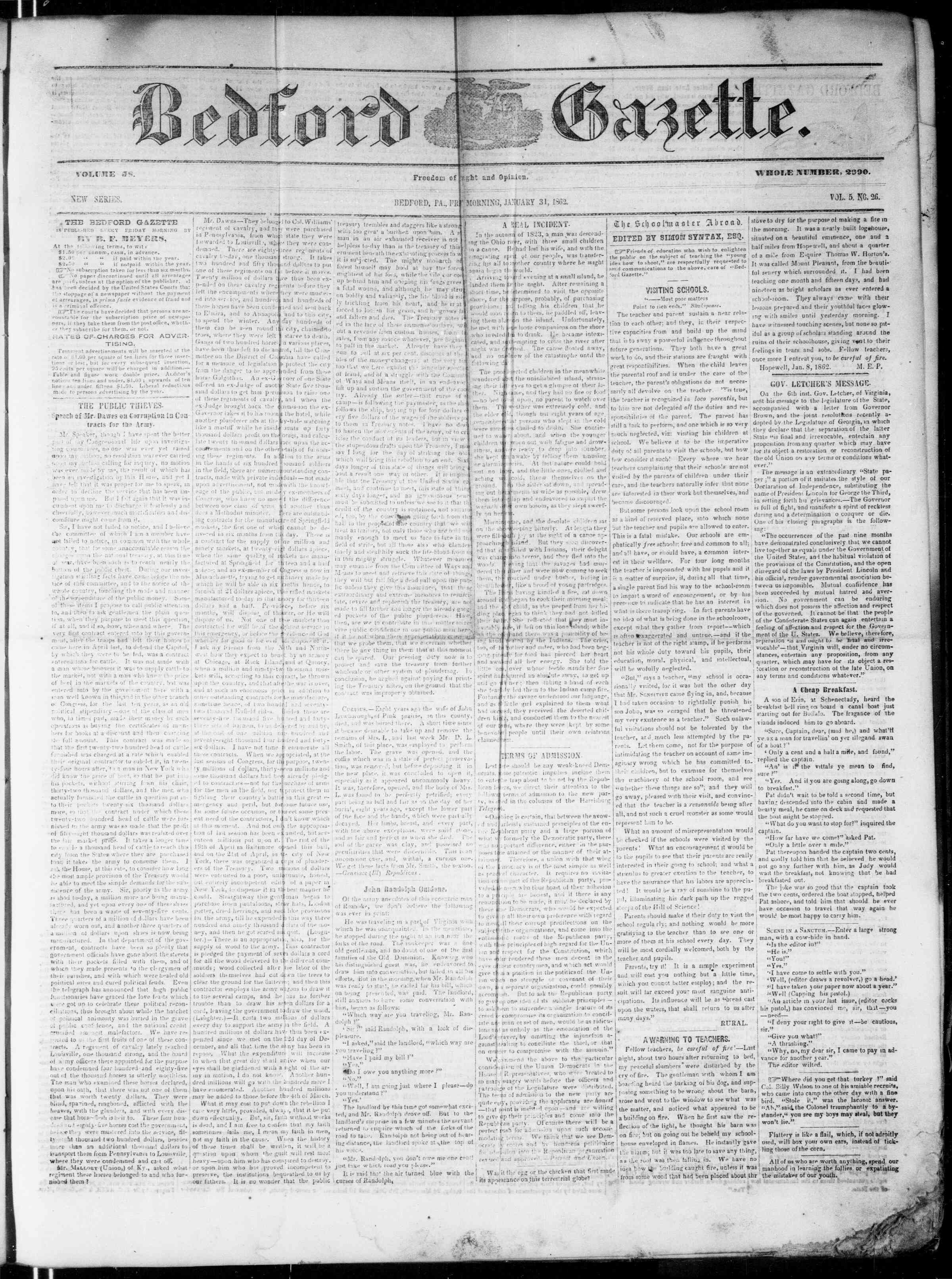 Newspaper of Bedford Gazette dated January 31, 1862 Page 1