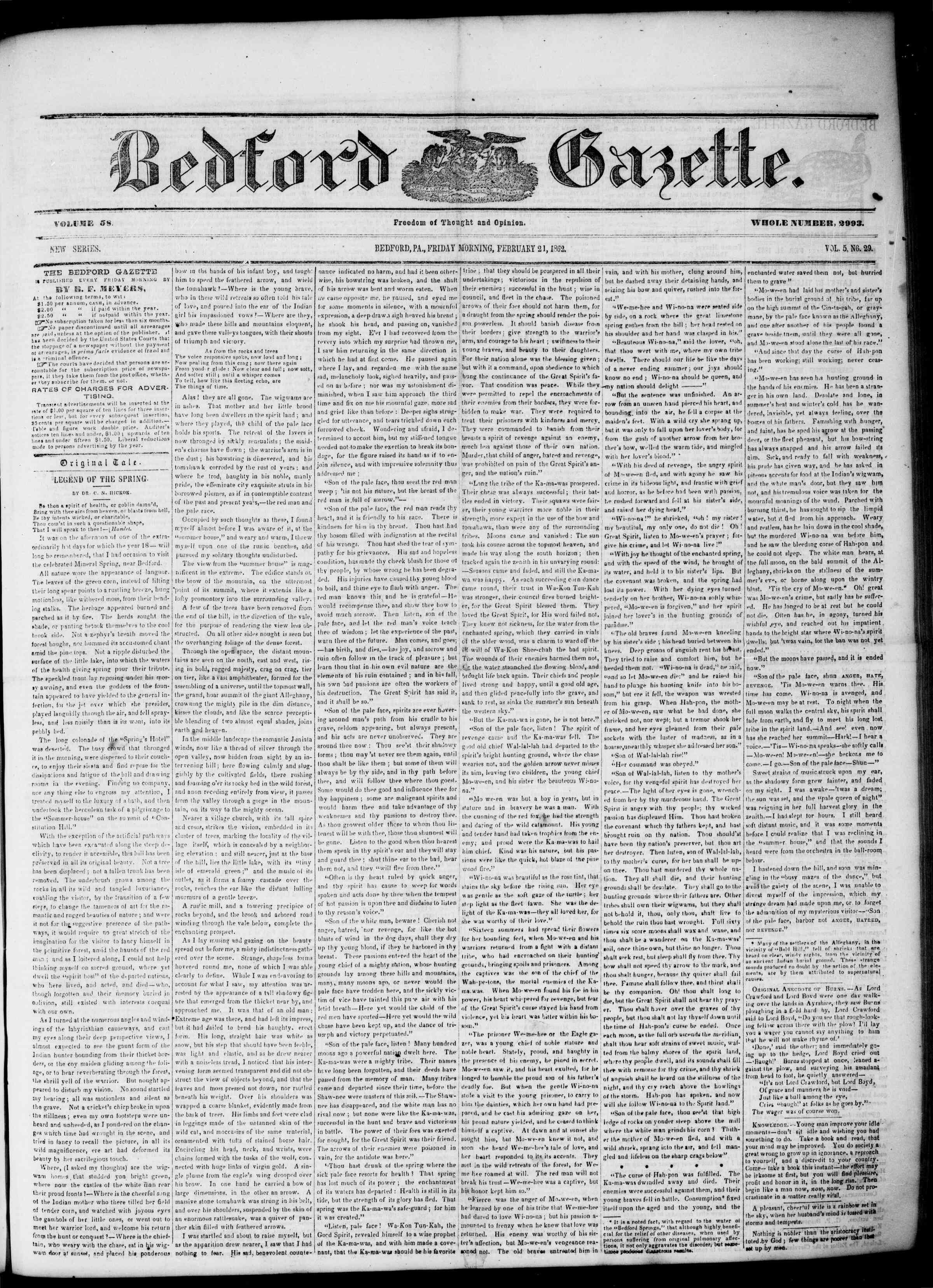 Newspaper of Bedford Gazette dated February 21, 1862 Page 1