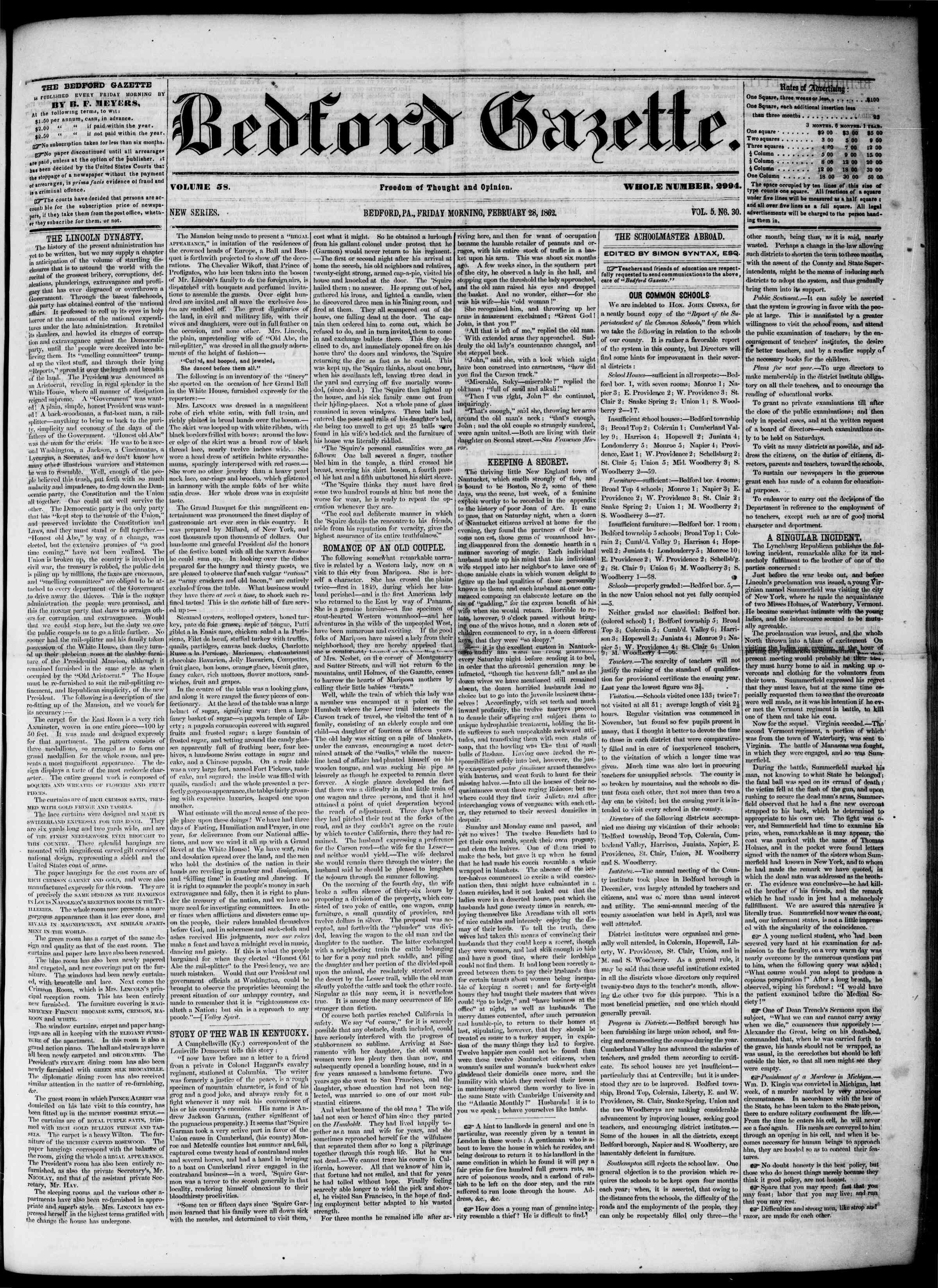 Newspaper of Bedford Gazette dated February 28, 1862 Page 1